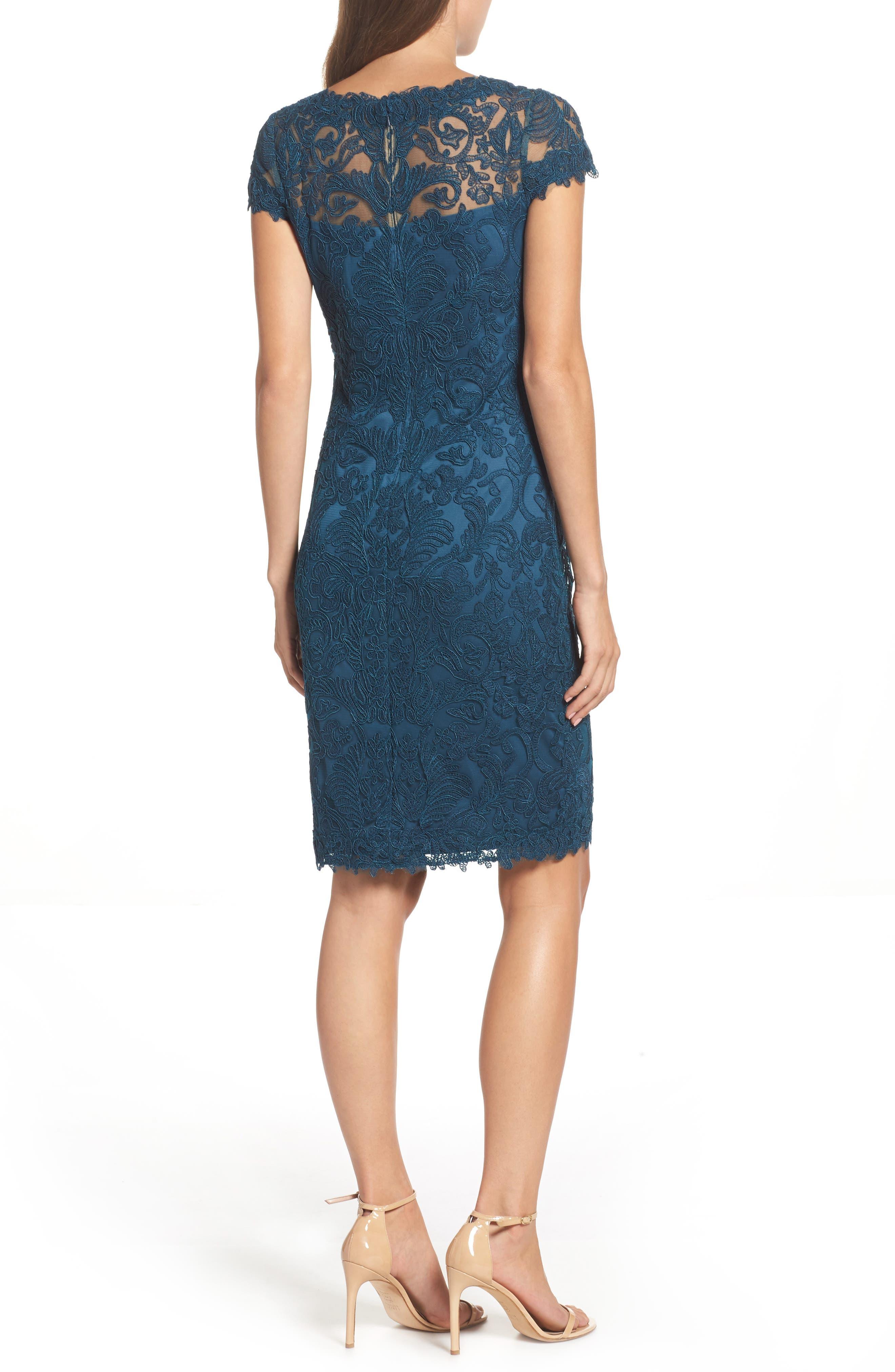 Illusion Yoke Lace Sheath Dress,                             Alternate thumbnail 23, color,