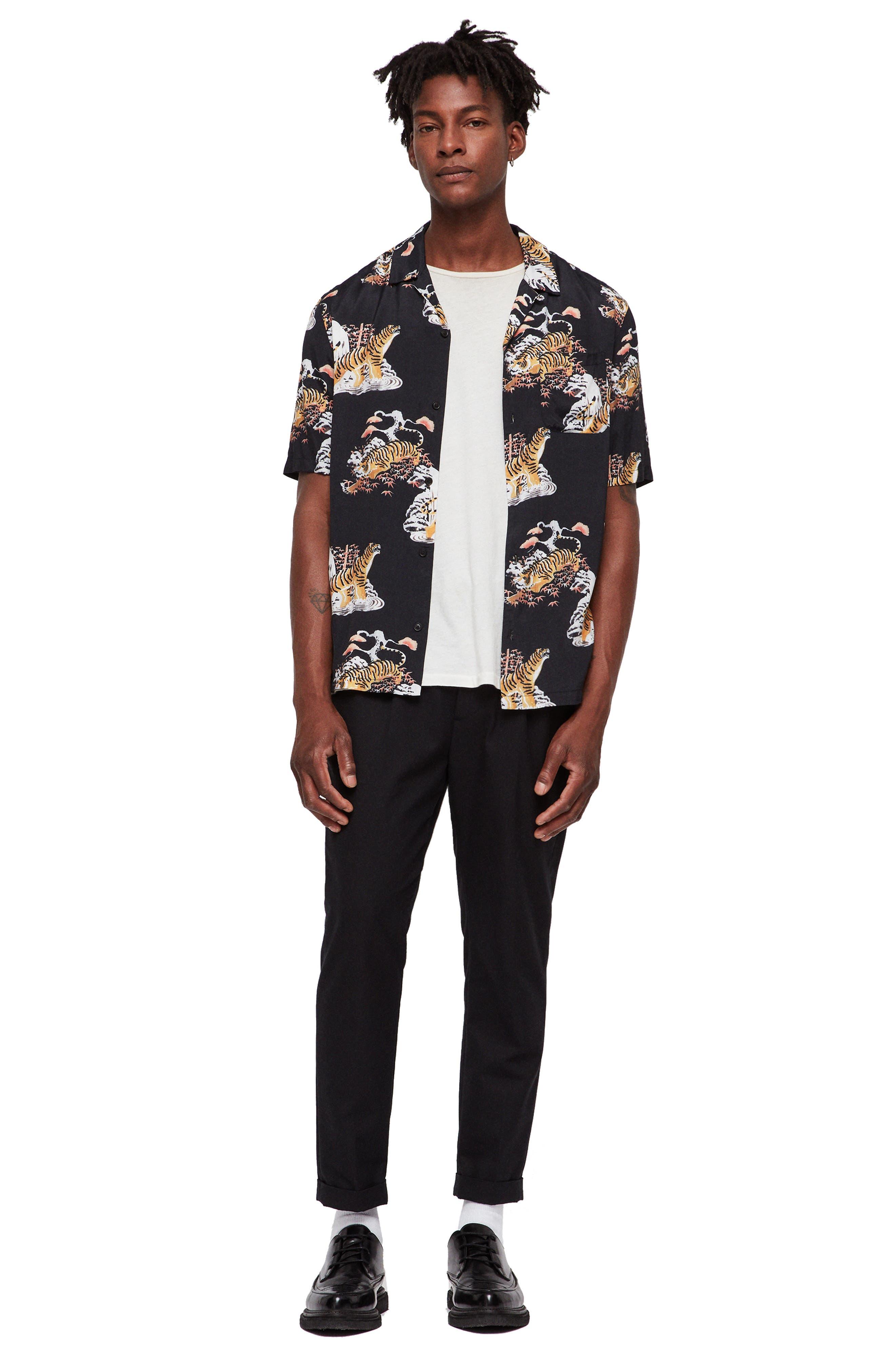 Kirshma Slim Fit Print Shirt,                             Alternate thumbnail 5, color,                             BLACK