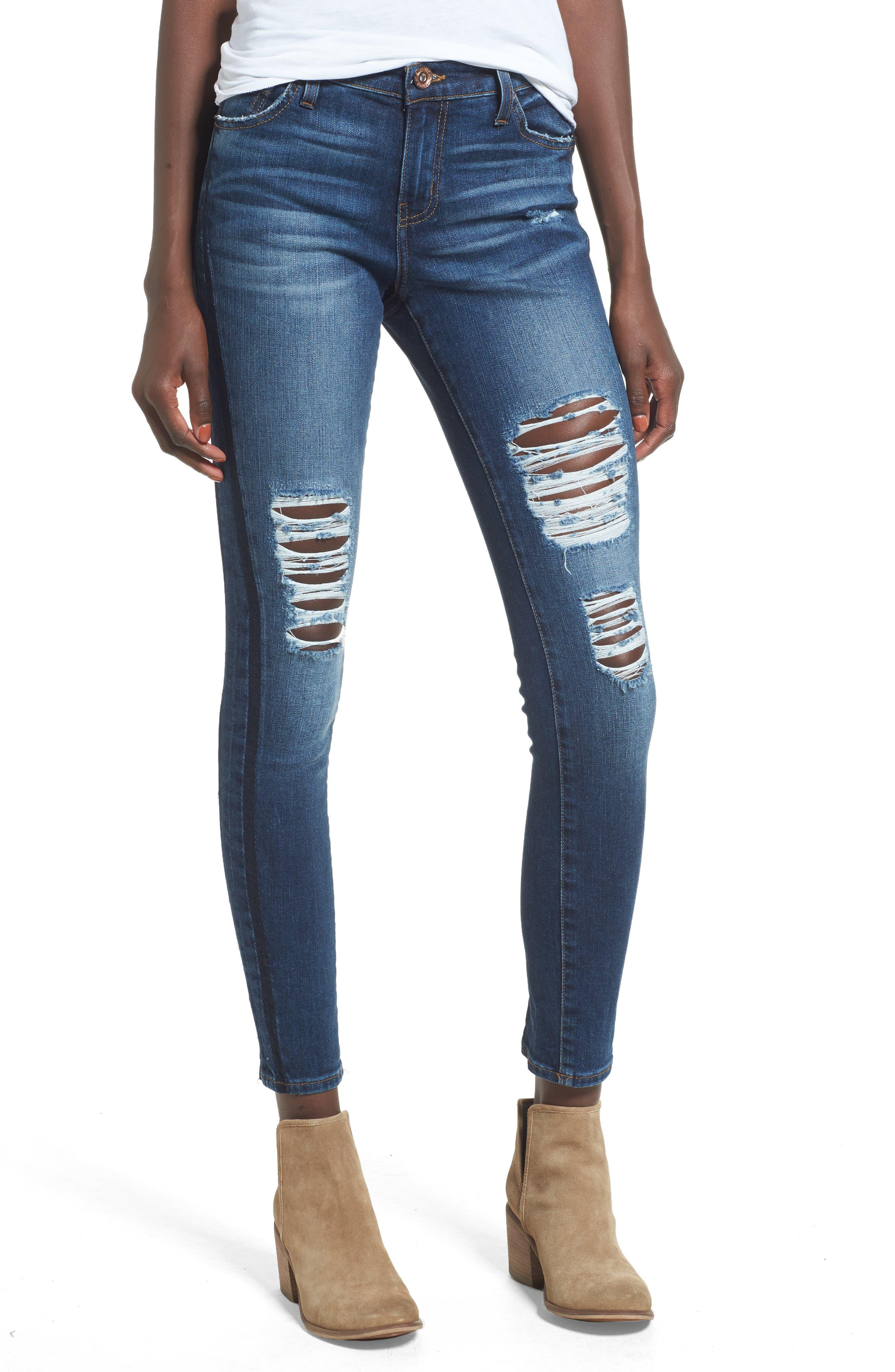 Lola Ripped Skinny Jeans,                             Main thumbnail 1, color,                             400