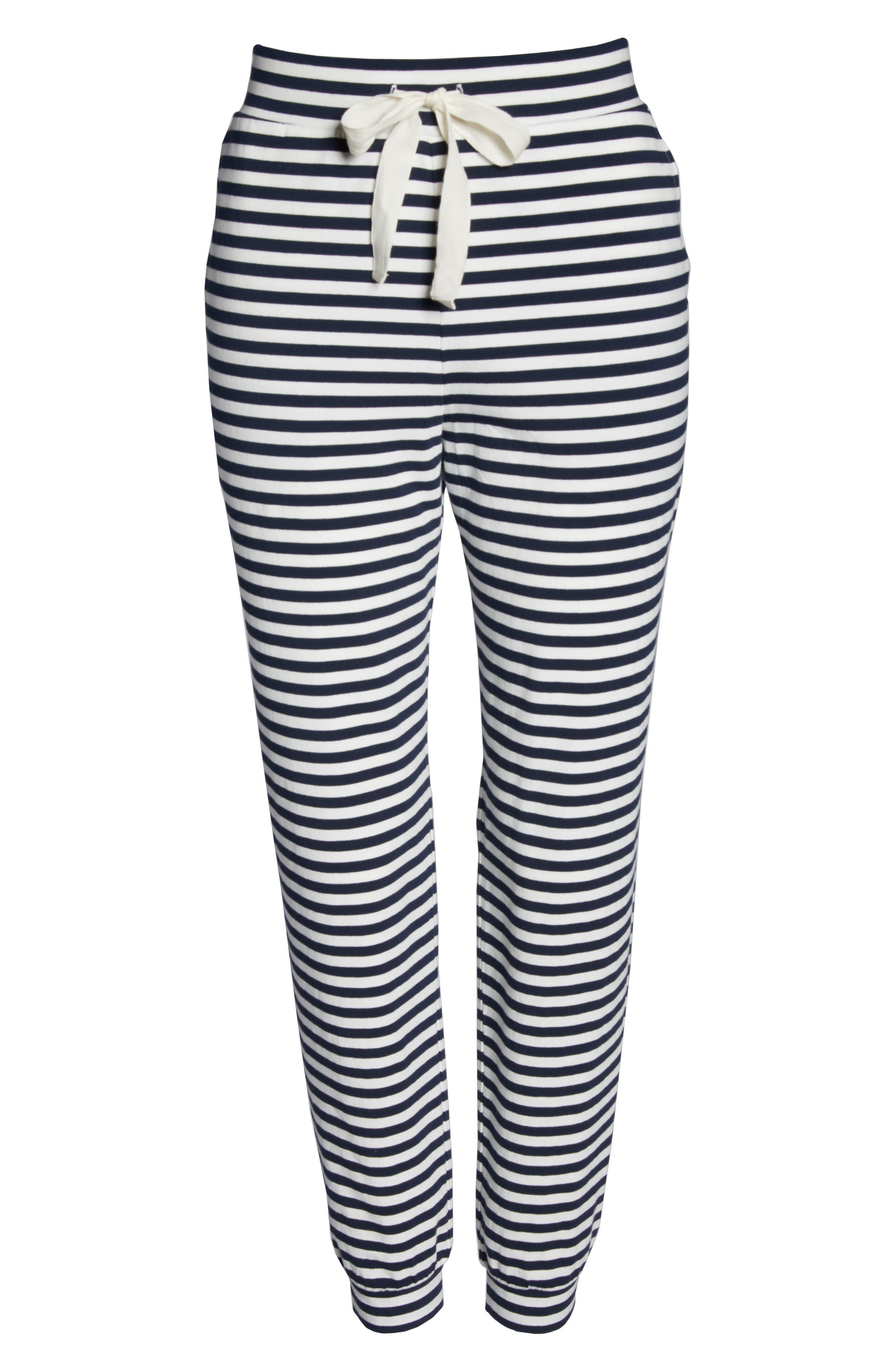 Dreamy Stripe Pajama Jogger Pants,                             Alternate thumbnail 6, color,                             IVORY NAVY
