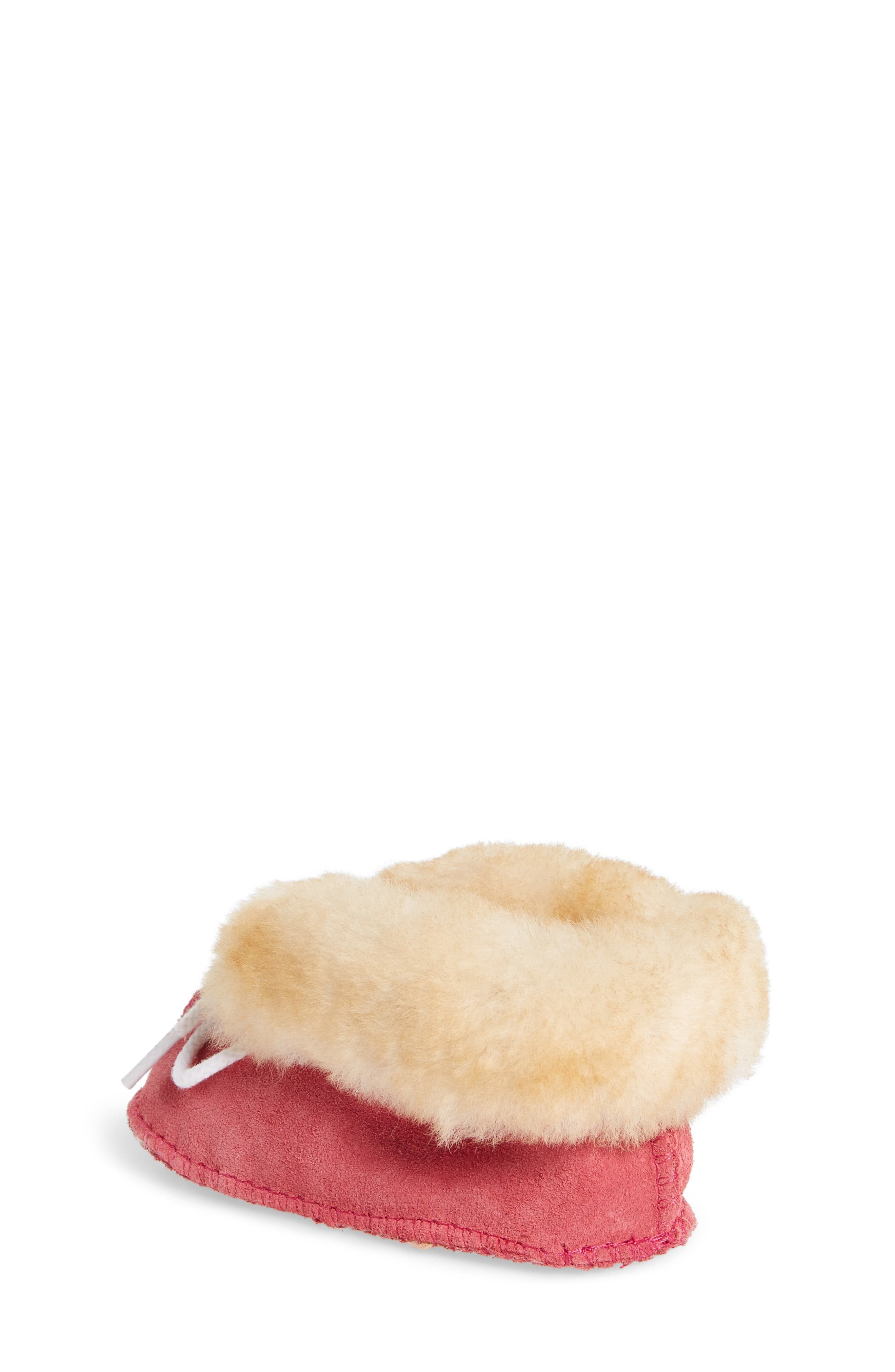 Genuine Shearling Crib Moccasin,                             Alternate thumbnail 2, color,                             HOT PINK