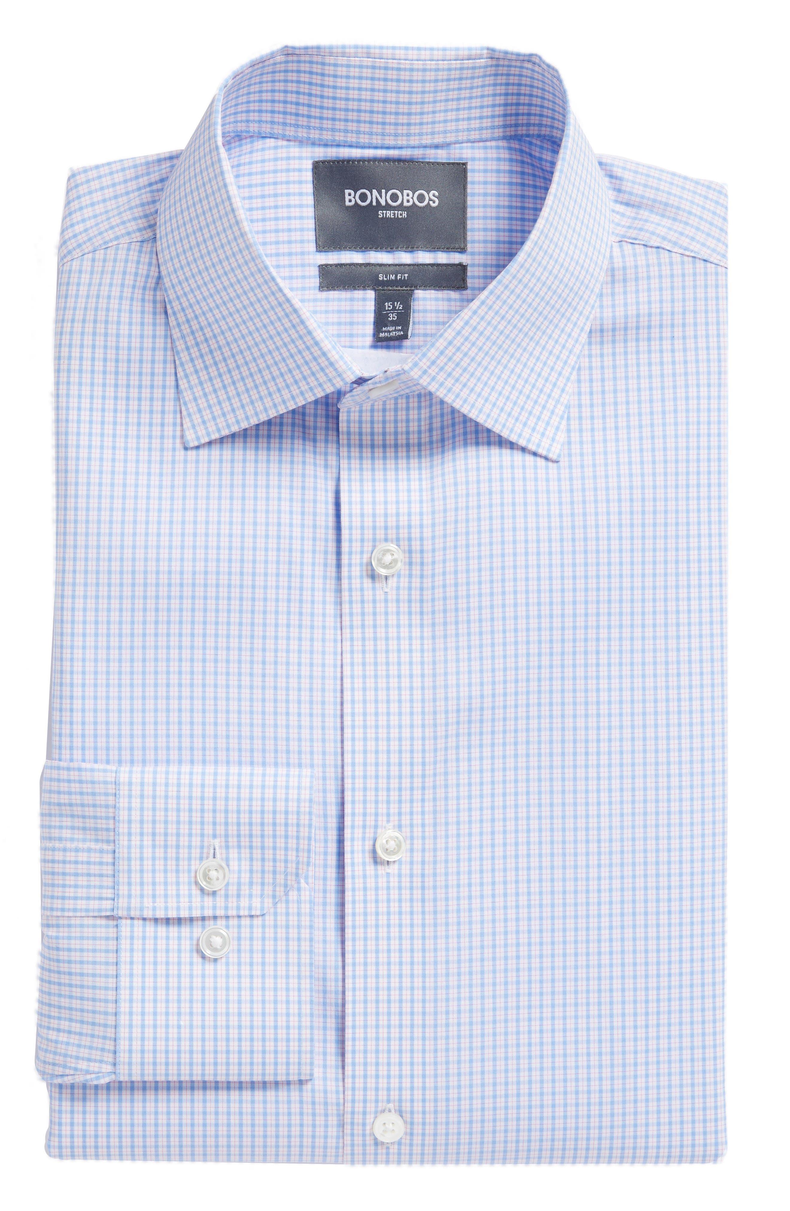 Soundview Slim Fit Stretch Check Dress Shirt,                             Alternate thumbnail 5, color,                             400