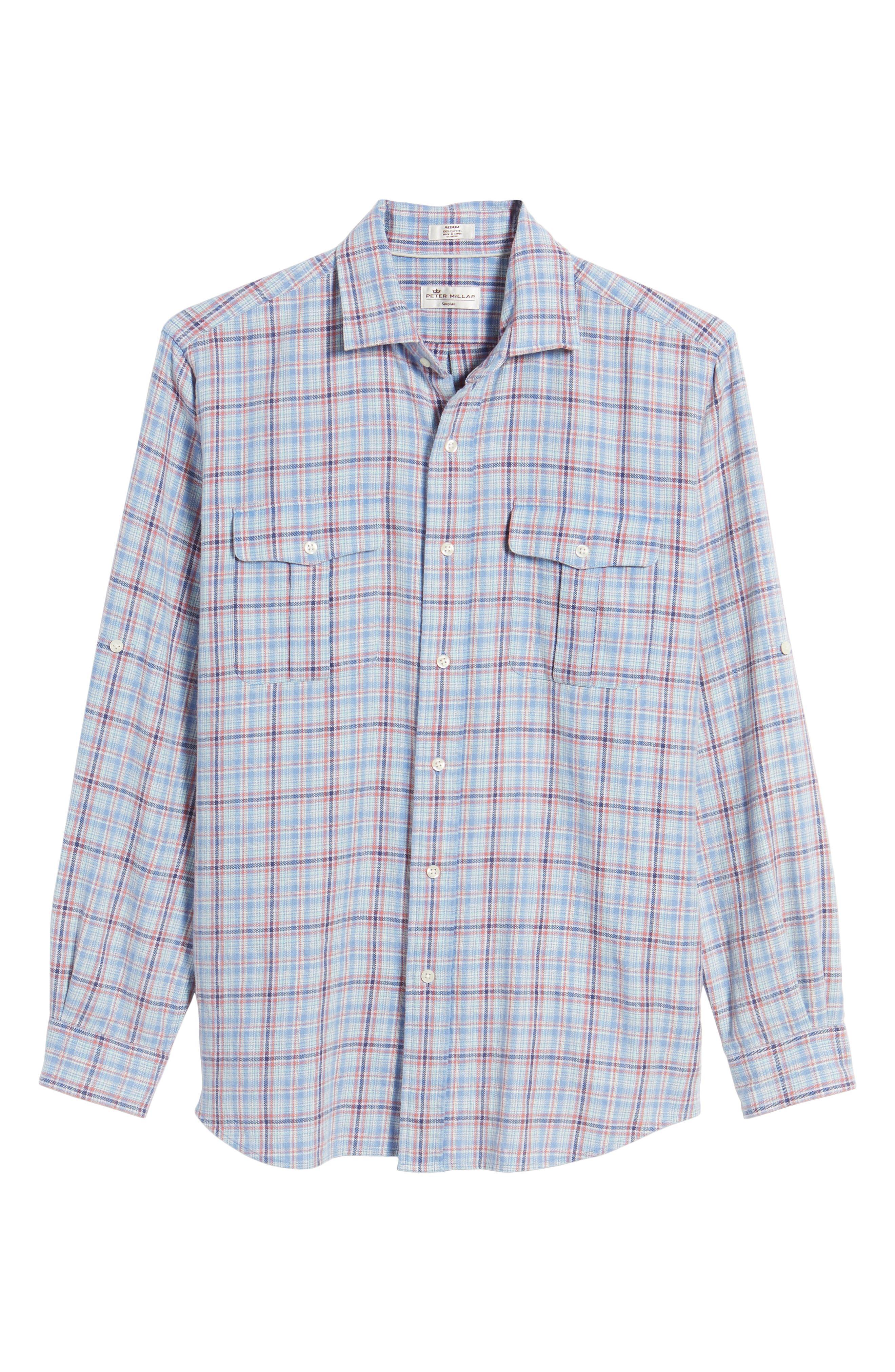 Emerald Isle Regular Fit Plaid Sport Shirt,                             Alternate thumbnail 6, color,