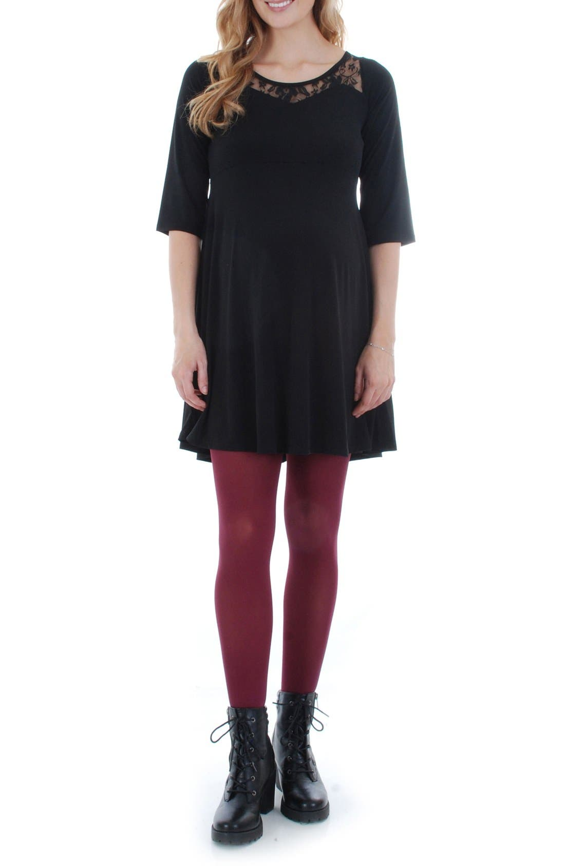 Pipa Maternity Skater Dress,                             Main thumbnail 1, color,                             BLACK