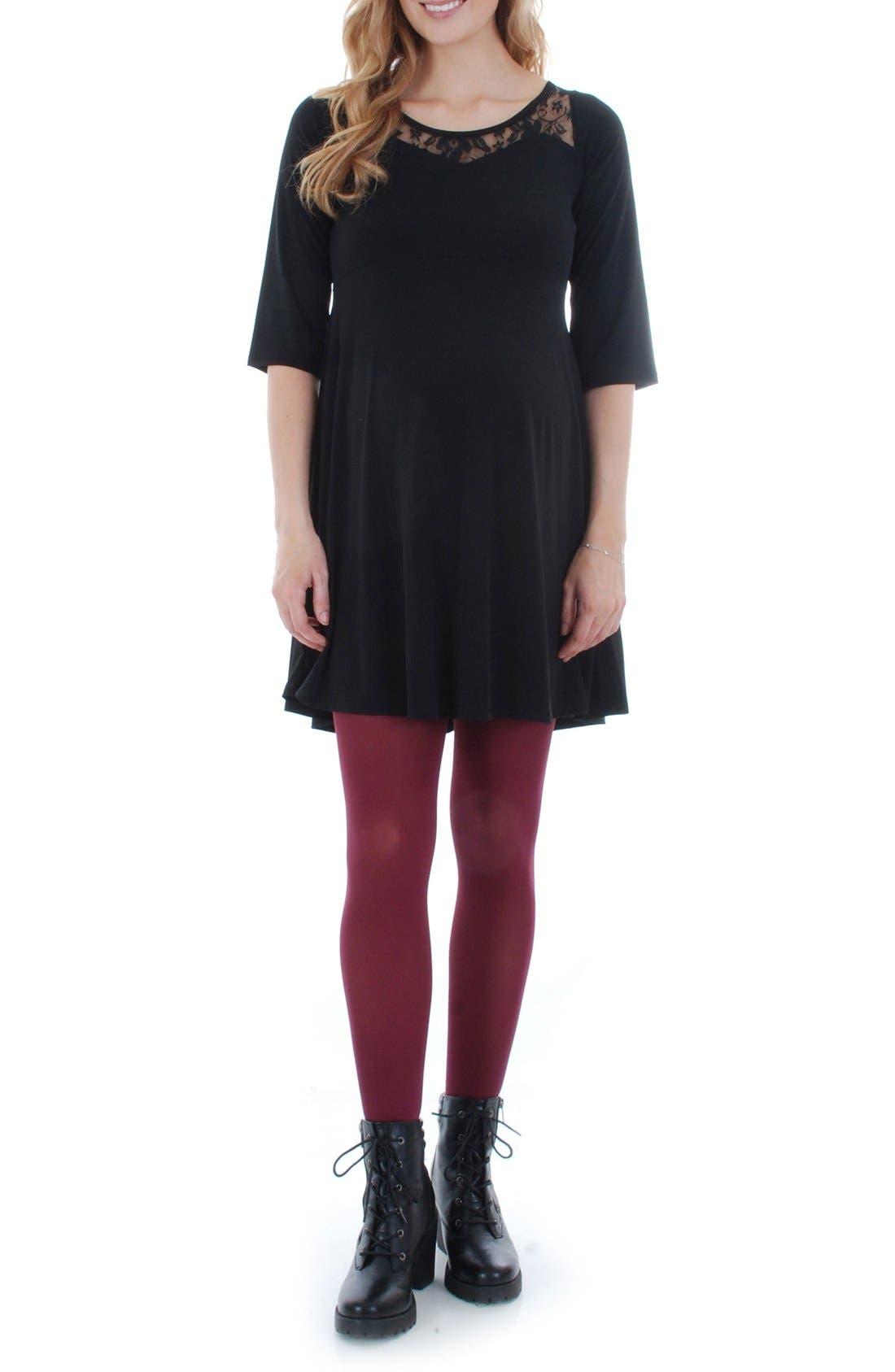 Pipa Maternity Skater Dress,                         Main,                         color, BLACK