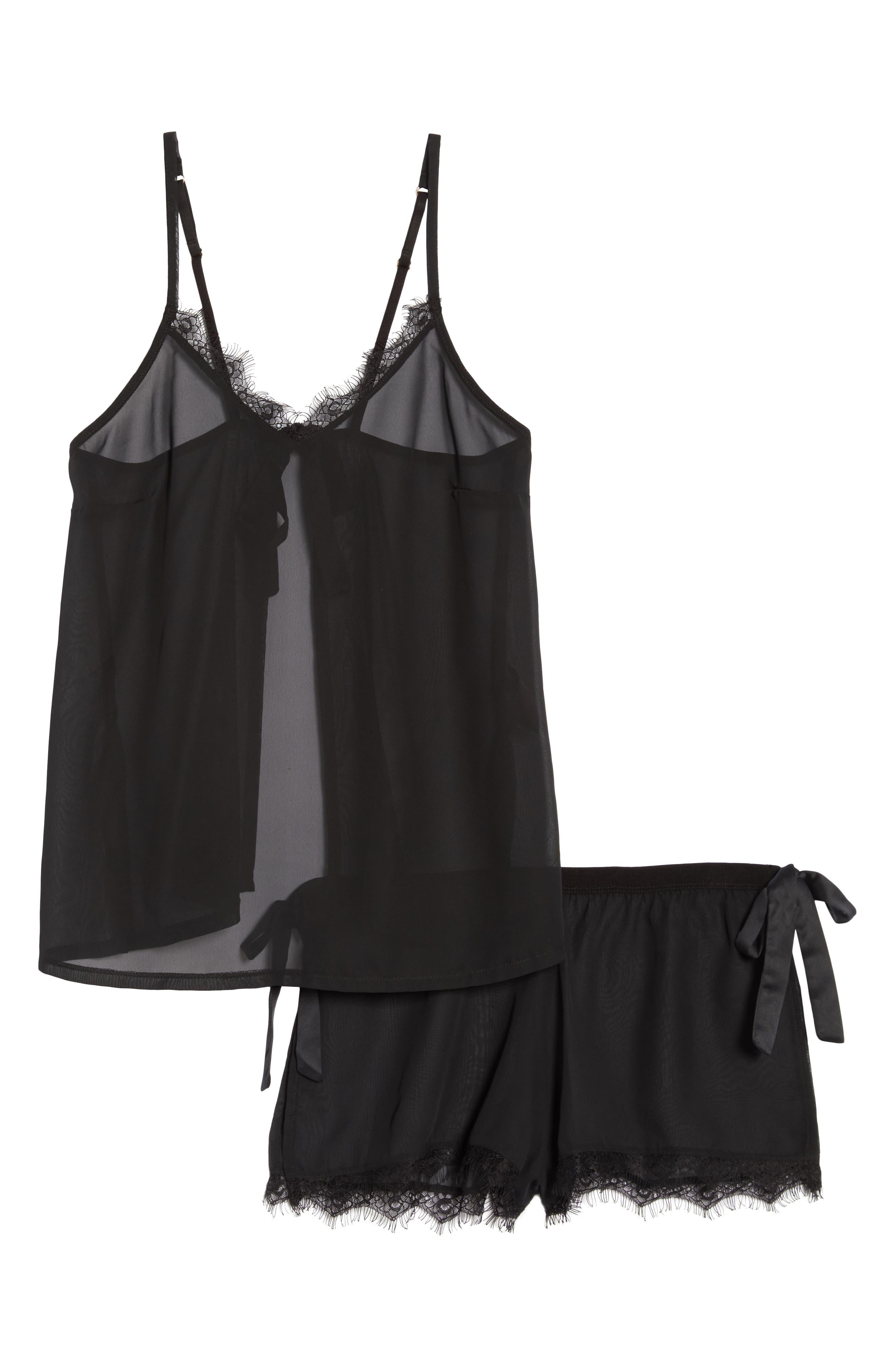 Copper Sheer Short Pajamas,                             Alternate thumbnail 6, color,                             BLACK