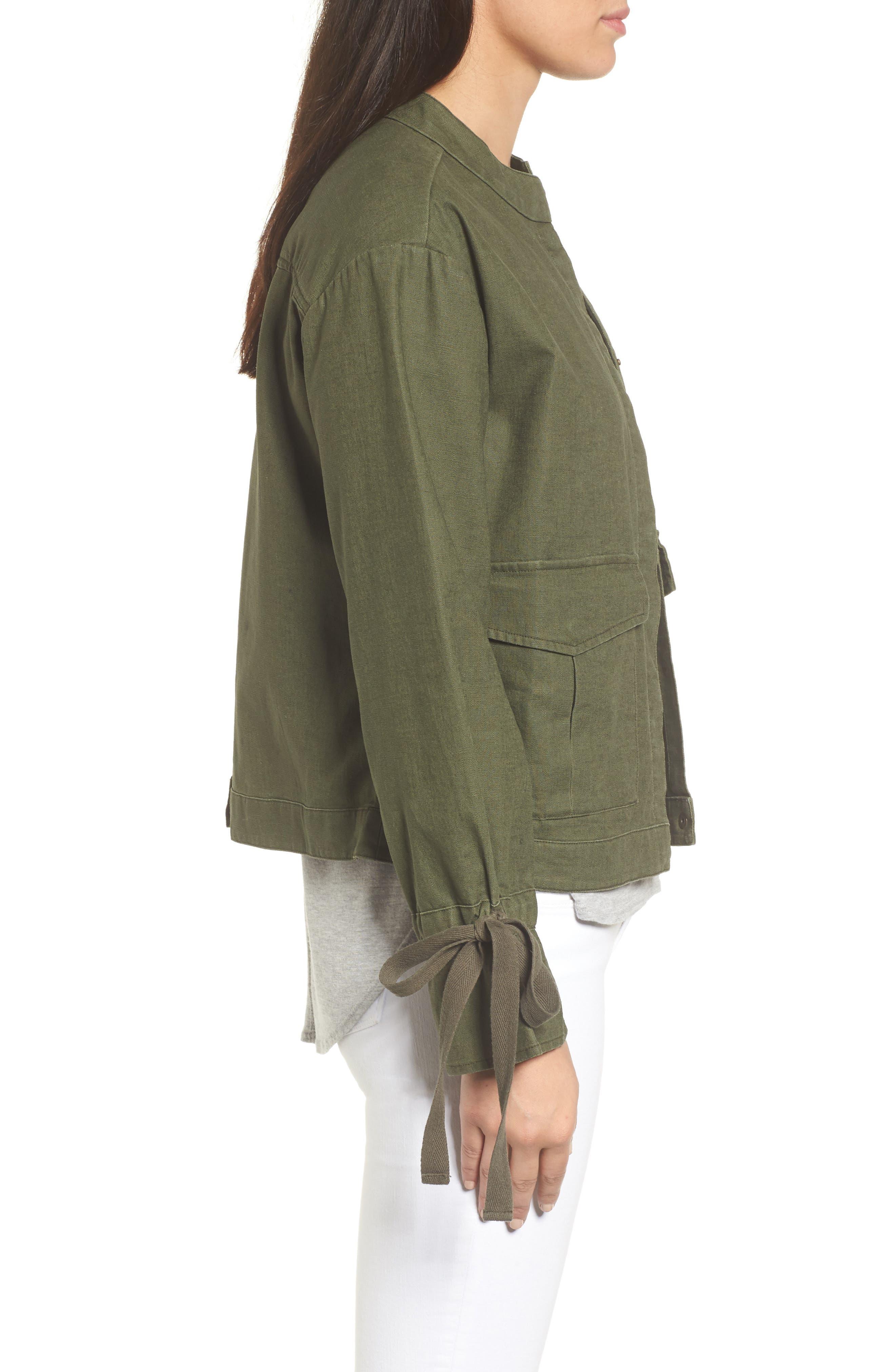 Tie Sleeve Linen & Cotton Jacket,                             Alternate thumbnail 8, color,