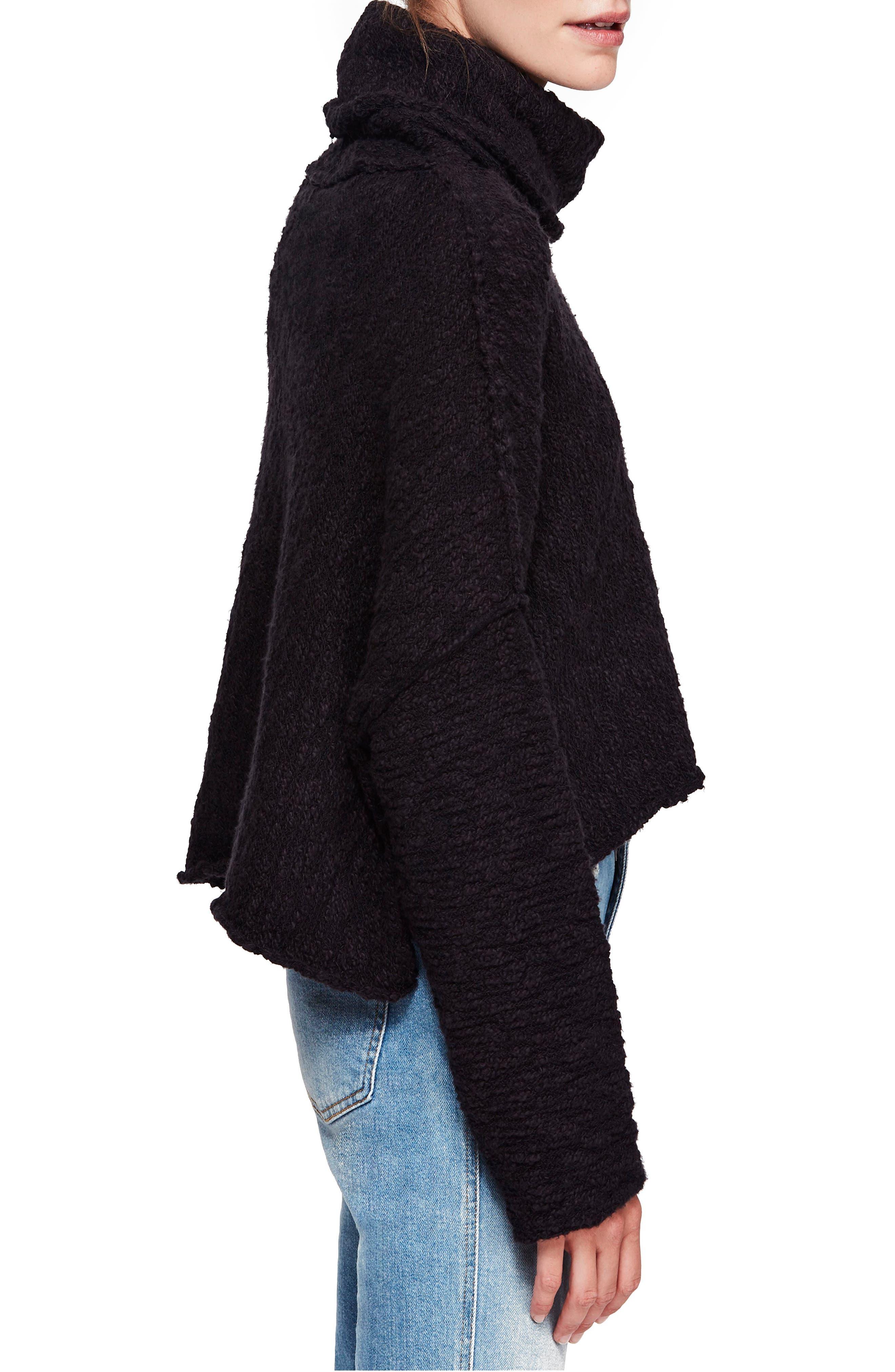 Big Easy Cowl Neck Crop Sweater,                             Alternate thumbnail 3, color,                             BLACK