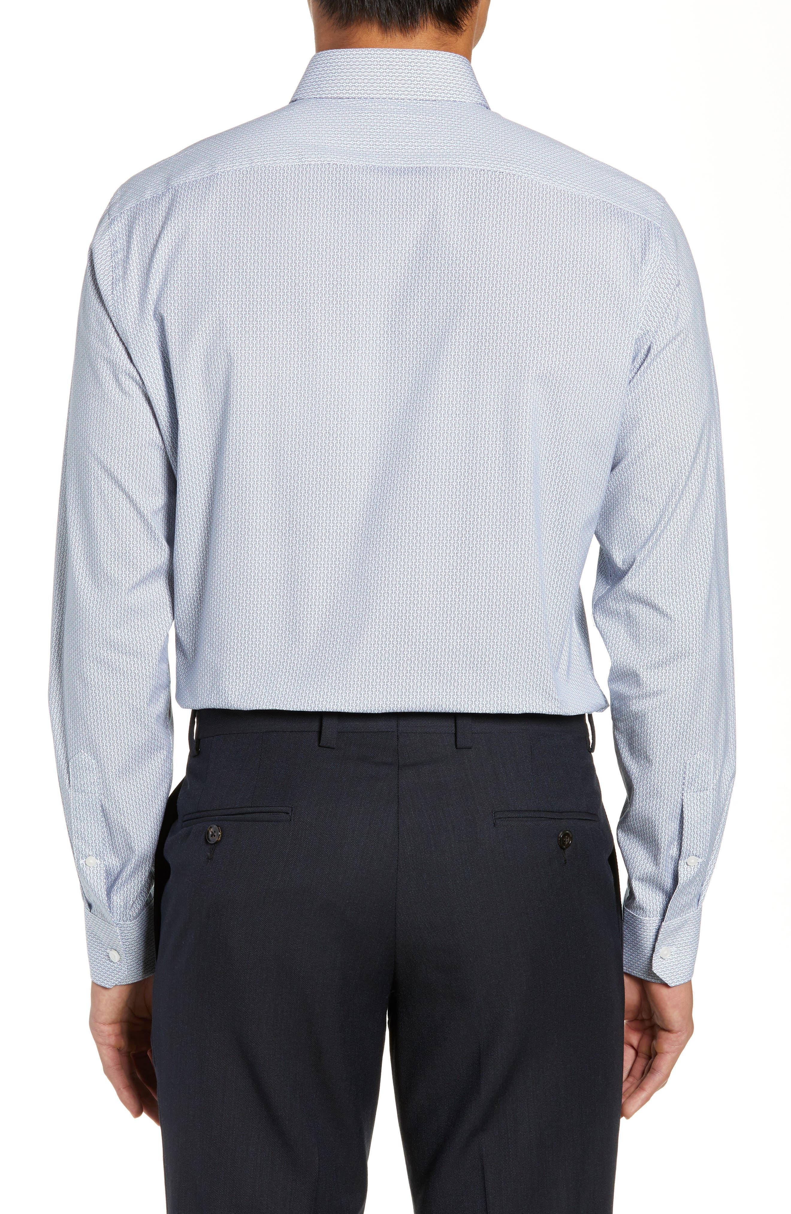 Trim Fit Geometric Print Dress Shirt,                             Alternate thumbnail 3, color,                             BLUE CHAMBRAY