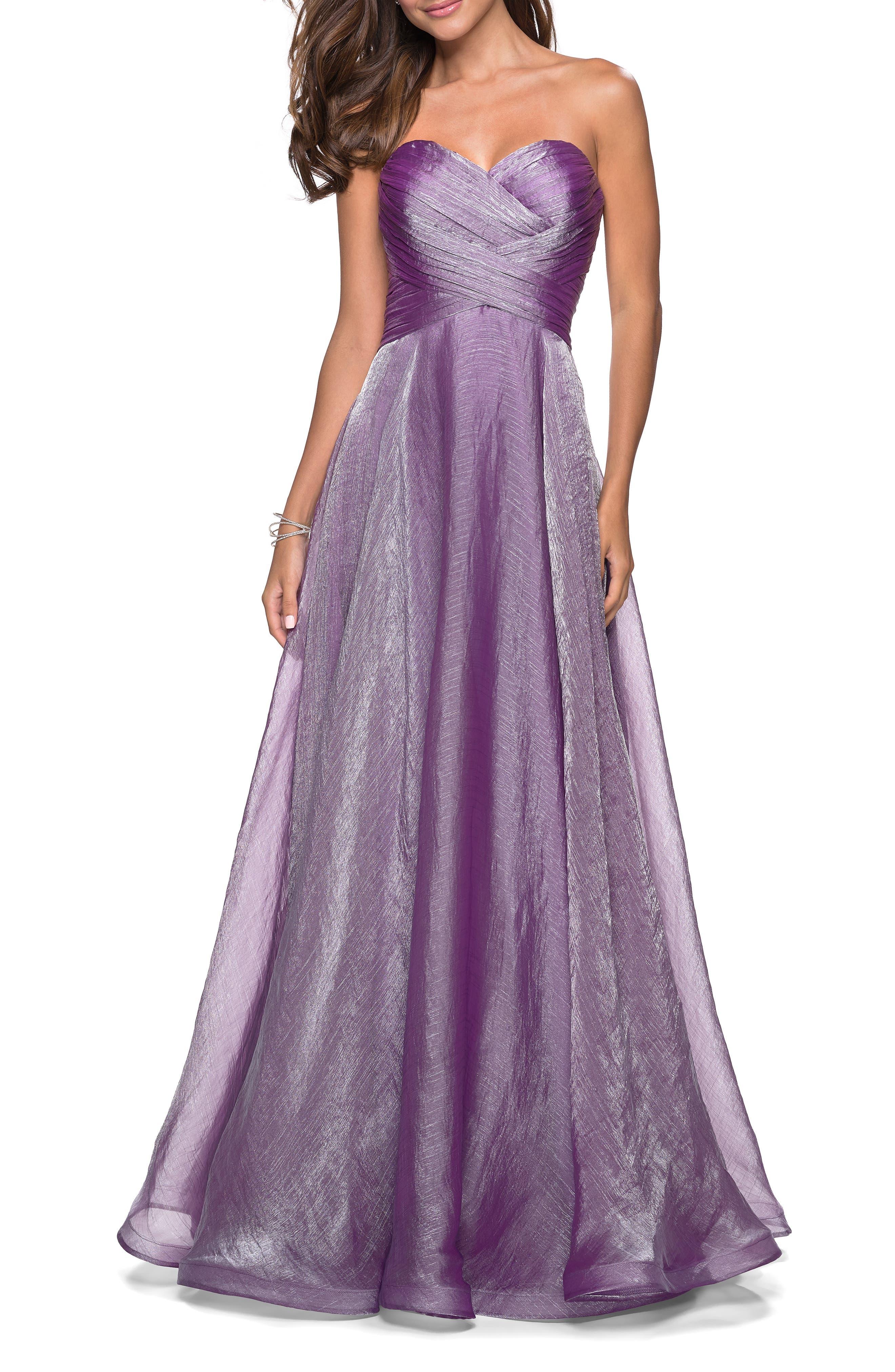 La Femme Strapless Metallic Chiffon Evening Dress, Purple