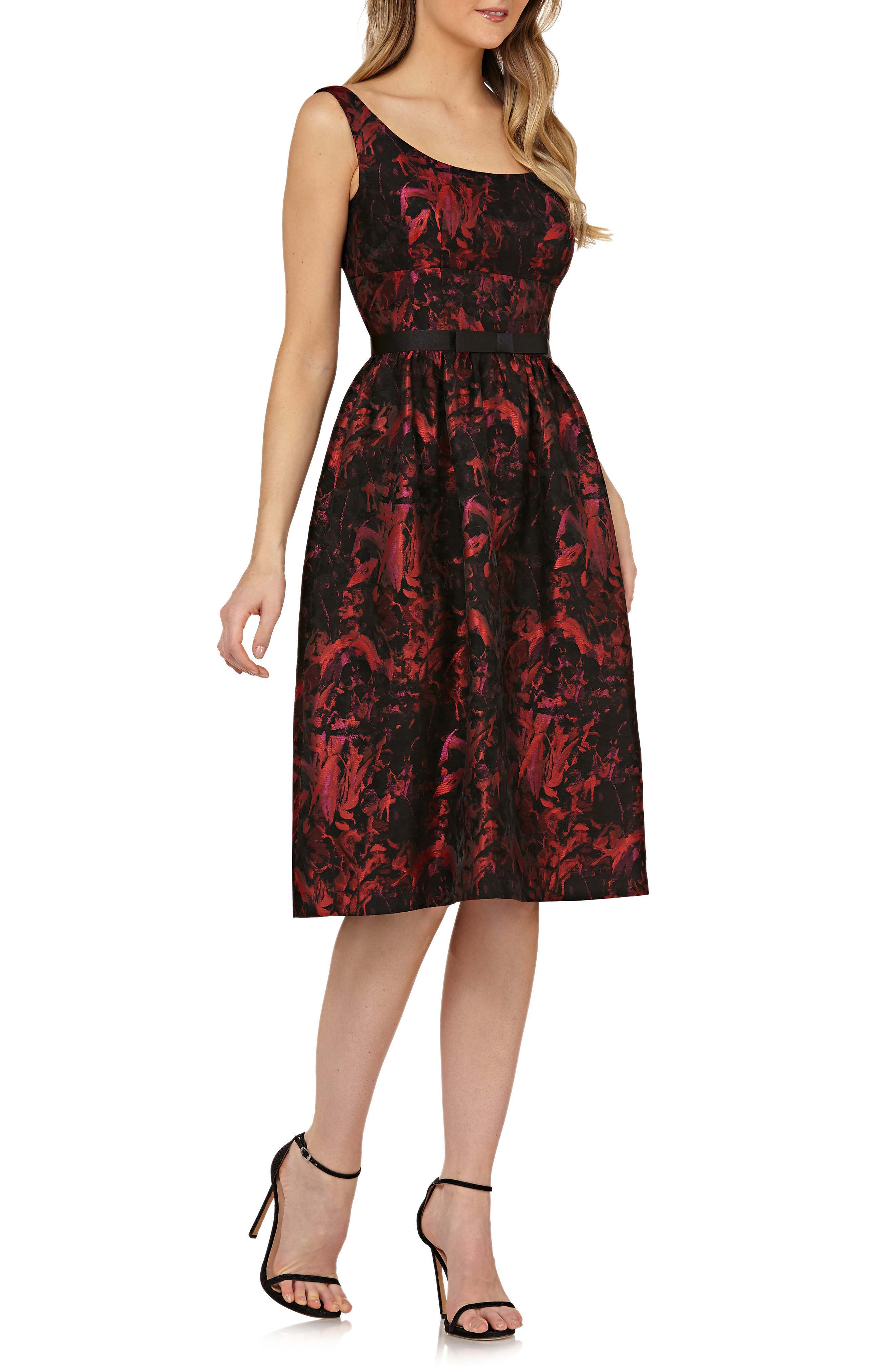 KAY UNGER Sleeveless Bow Waist Fit & Flare Dress in Red/ Black