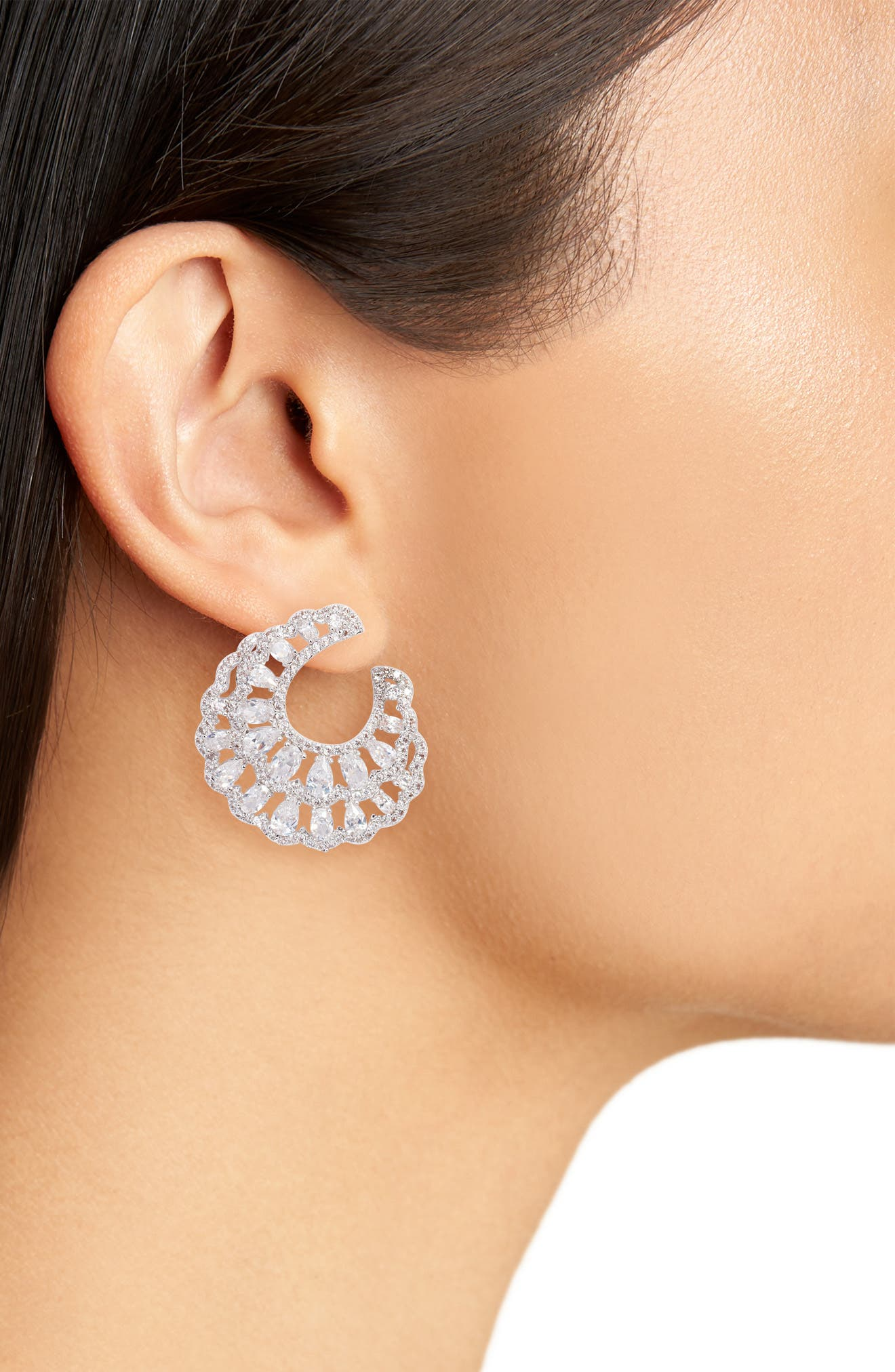 Layered Front/Back Hoop Earrings,                             Alternate thumbnail 2, color,                             SILVER/ WHITE CZ