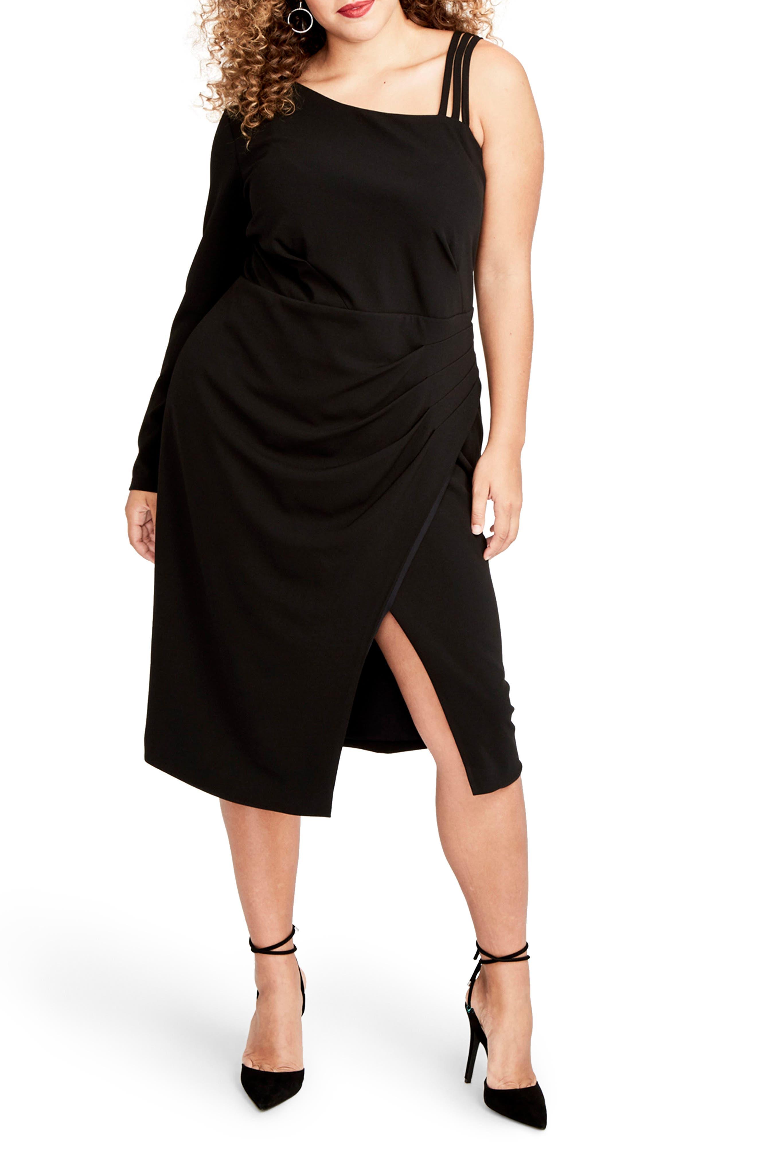 Asymmetrical Faux Wrap Dress,                             Main thumbnail 1, color,                             001