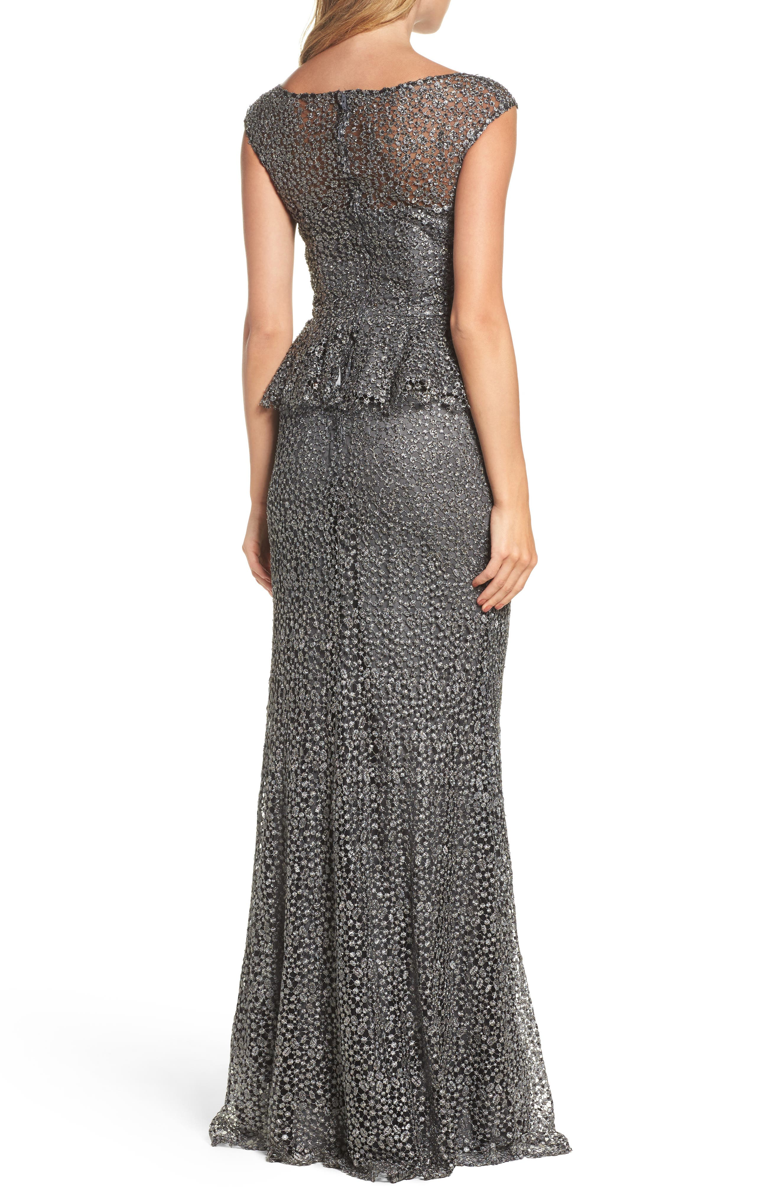 Embellished Lace Peplum Gown,                             Alternate thumbnail 2, color,                             GUNMETAL