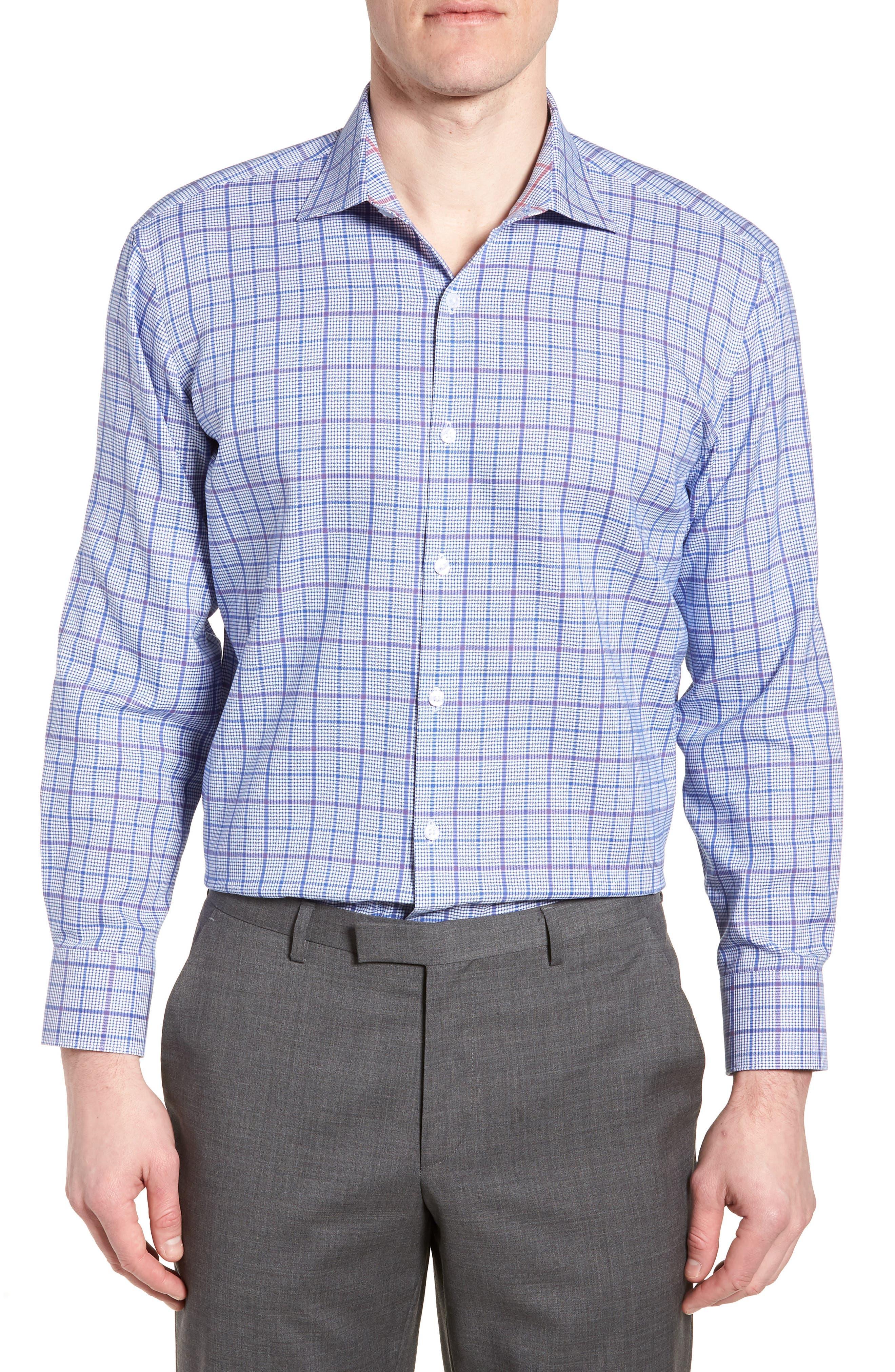 Kaden Trim Fit Plaid Dress Shirt,                         Main,                         color, 430