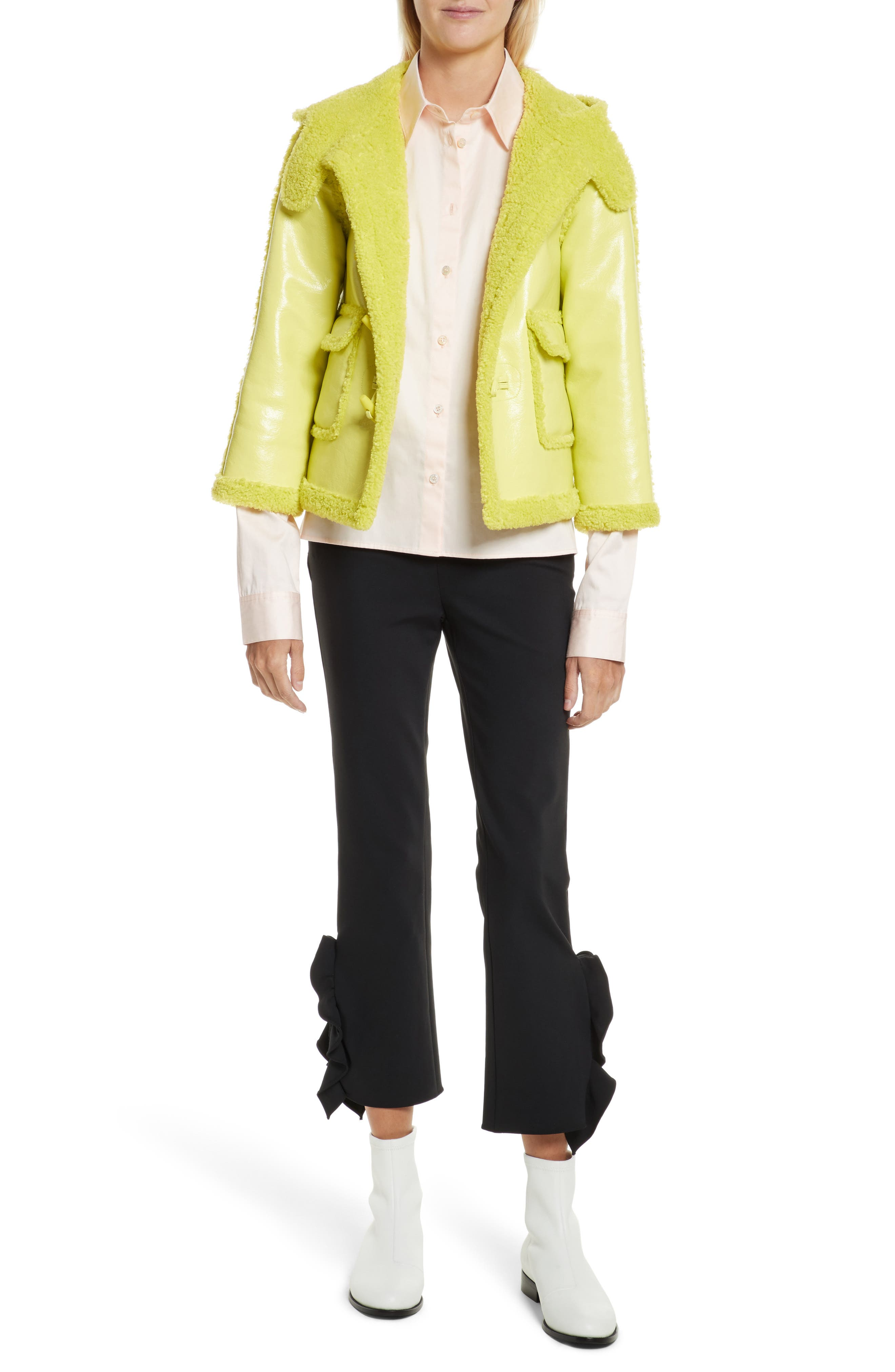 Faux Shearling Shrunken Toggle Jacket,                             Alternate thumbnail 7, color,                             321