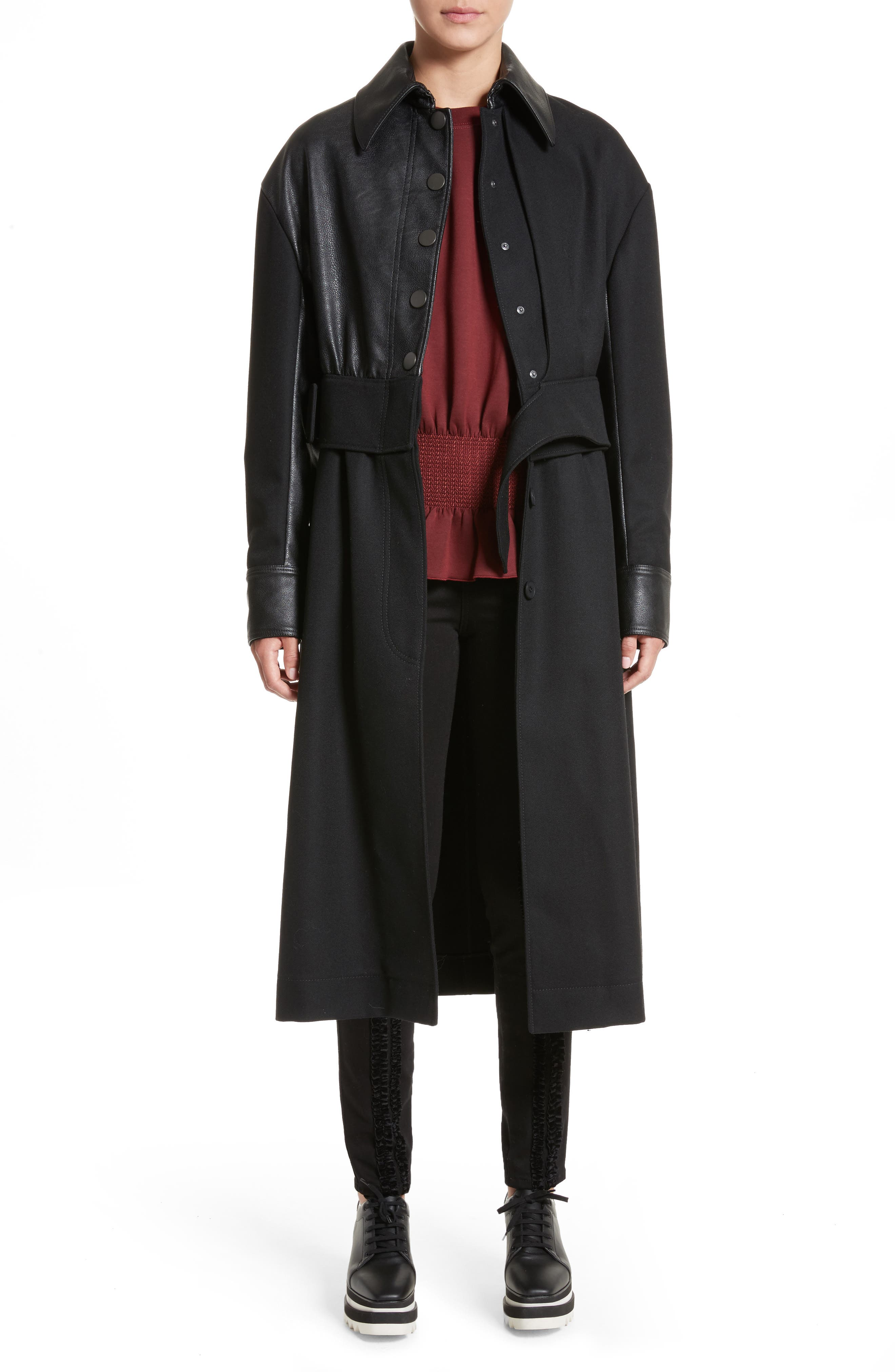 Eden Alter Leather Trim Wool Coat,                             Main thumbnail 1, color,                             001