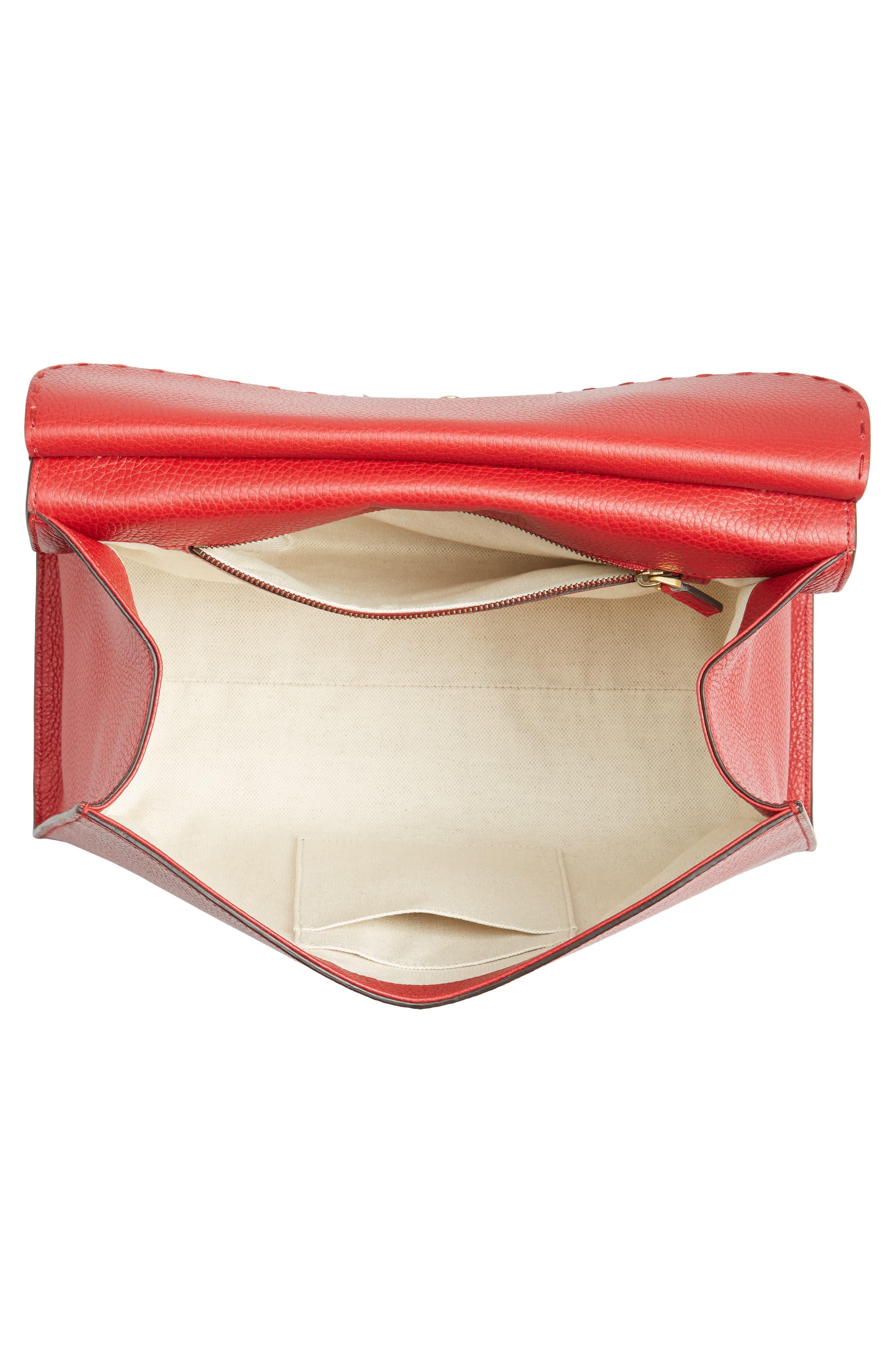 GG Marmont Top Handle Leather Satchel,                             Alternate thumbnail 4, color,                             621