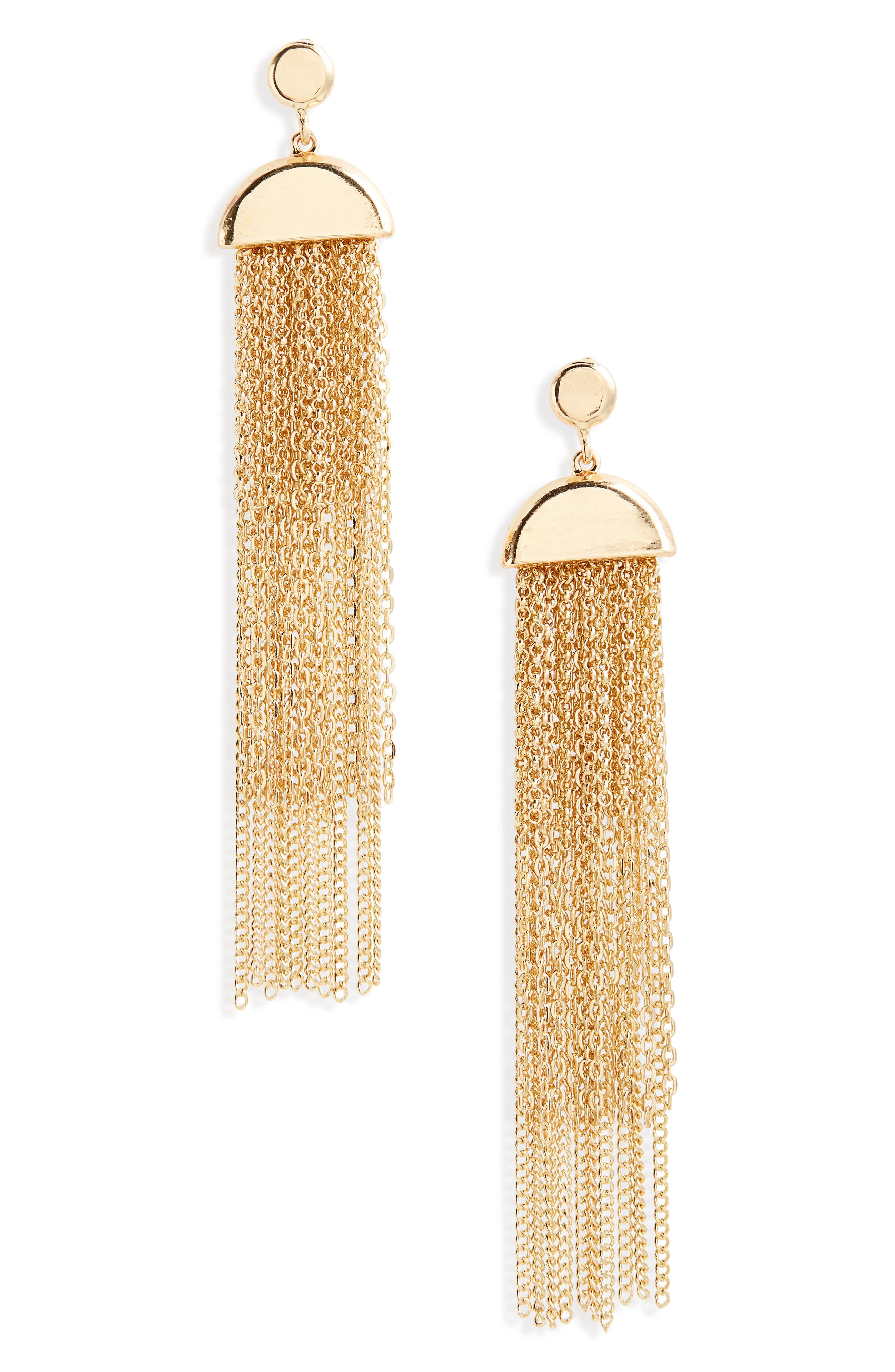Chain Fringe Drop Earrings,                             Main thumbnail 1, color,                             710