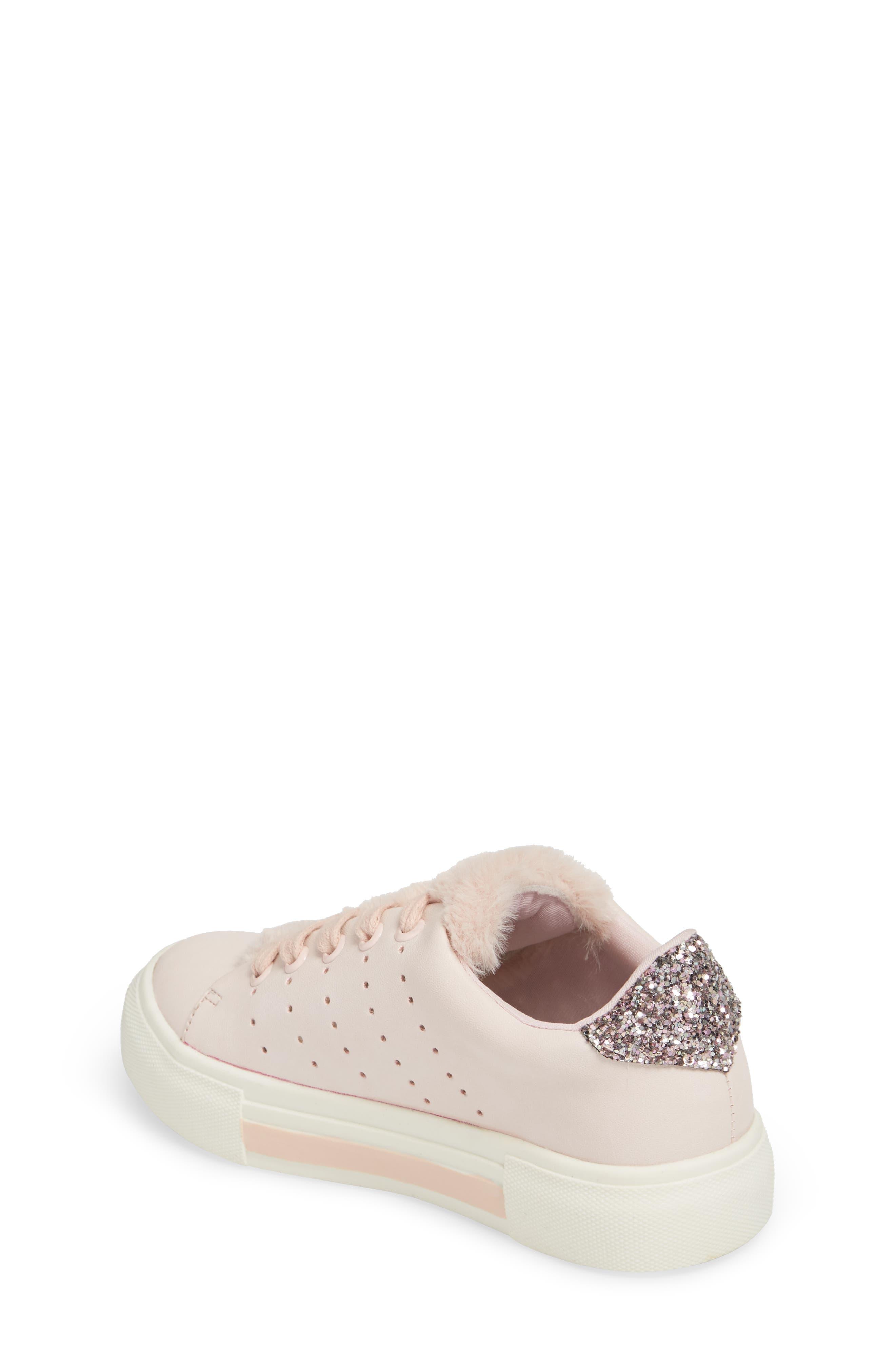 Cabel Glitter Faux Fur Sneaker,                             Alternate thumbnail 2, color,                             PINK