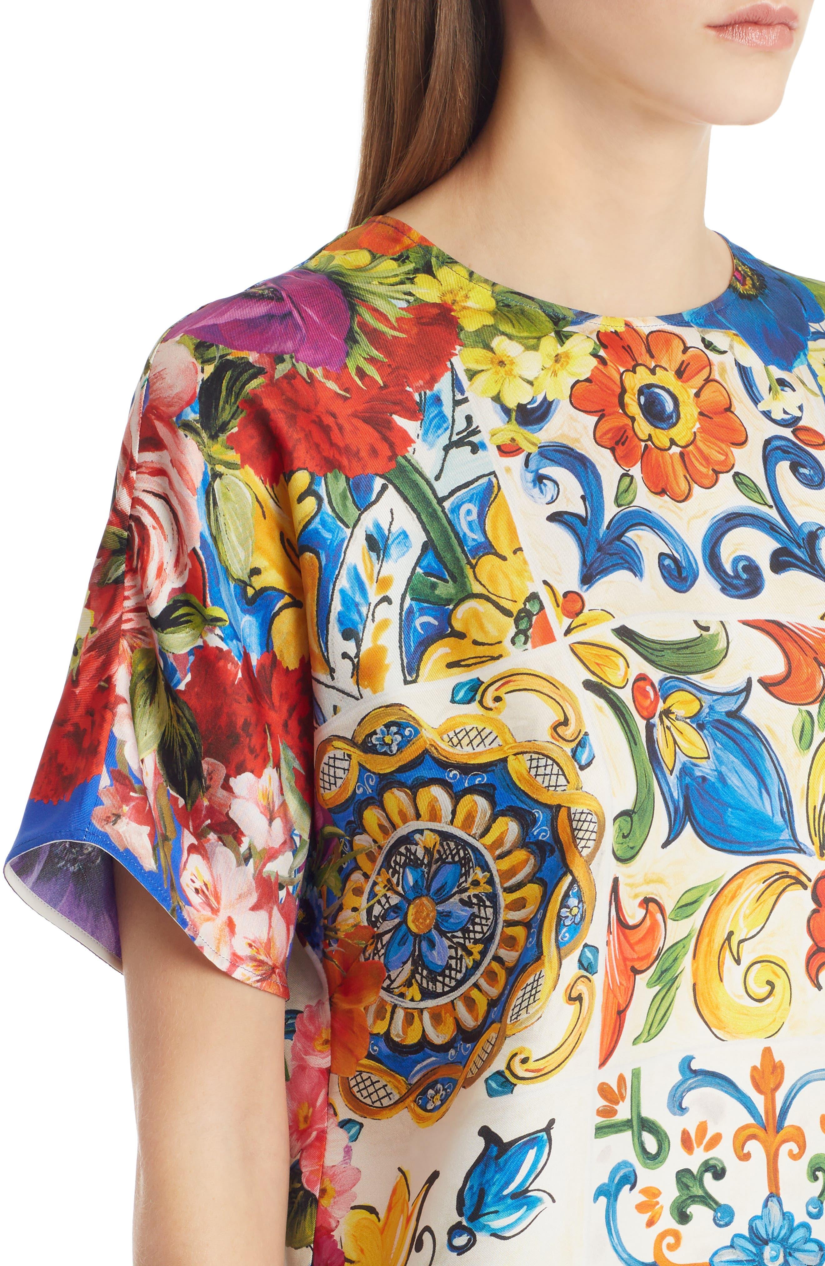 Tile Print Silk Top,                             Alternate thumbnail 4, color,                             430