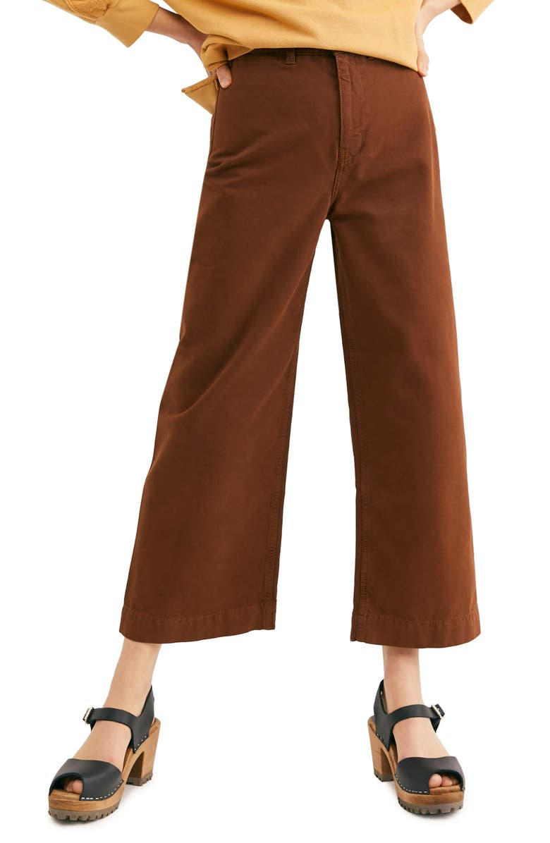 Free People Pants PATTI CROP COTTON PANTS