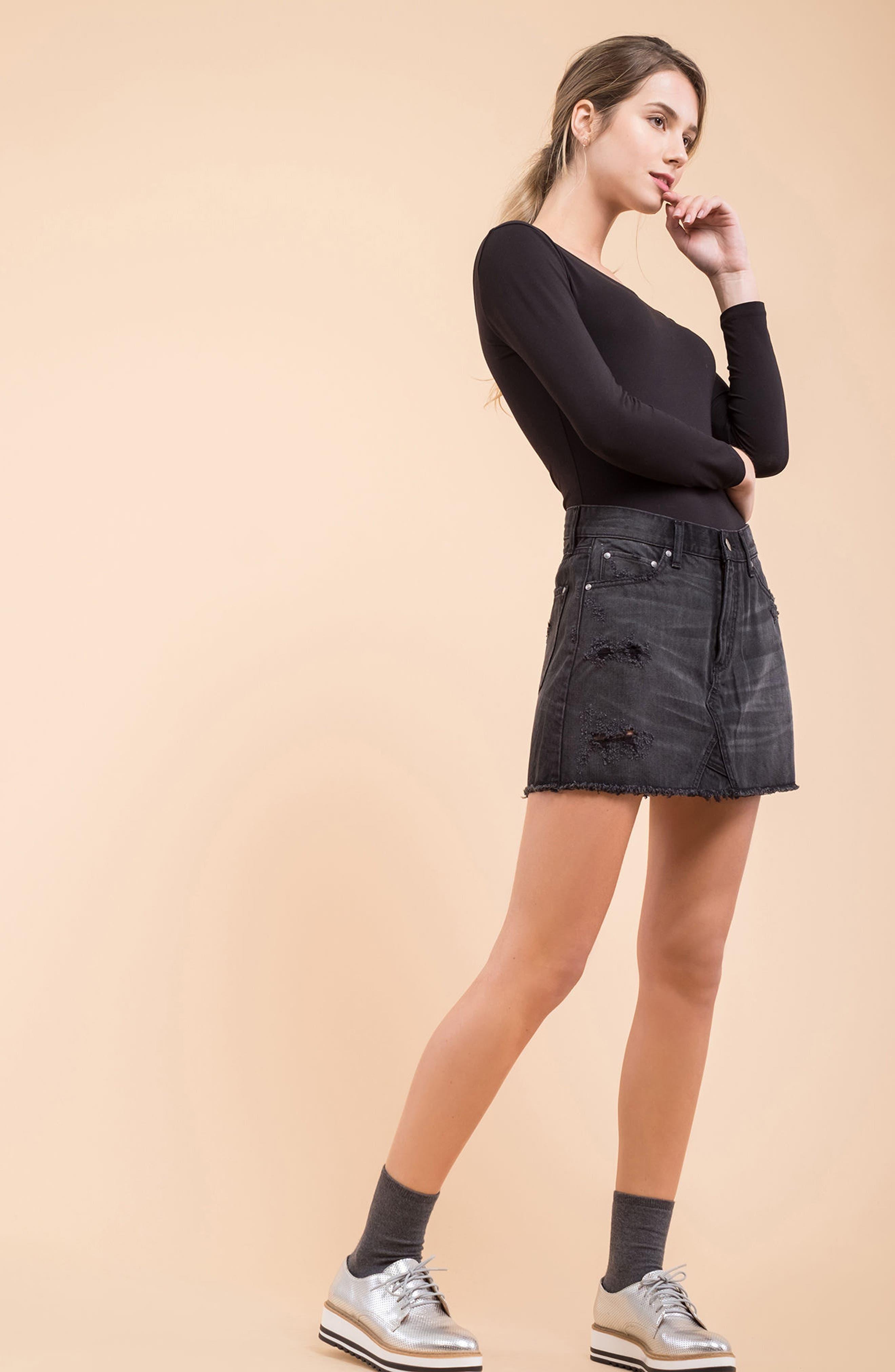 Destroyed Denim Miniskirt,                             Alternate thumbnail 7, color,                             001