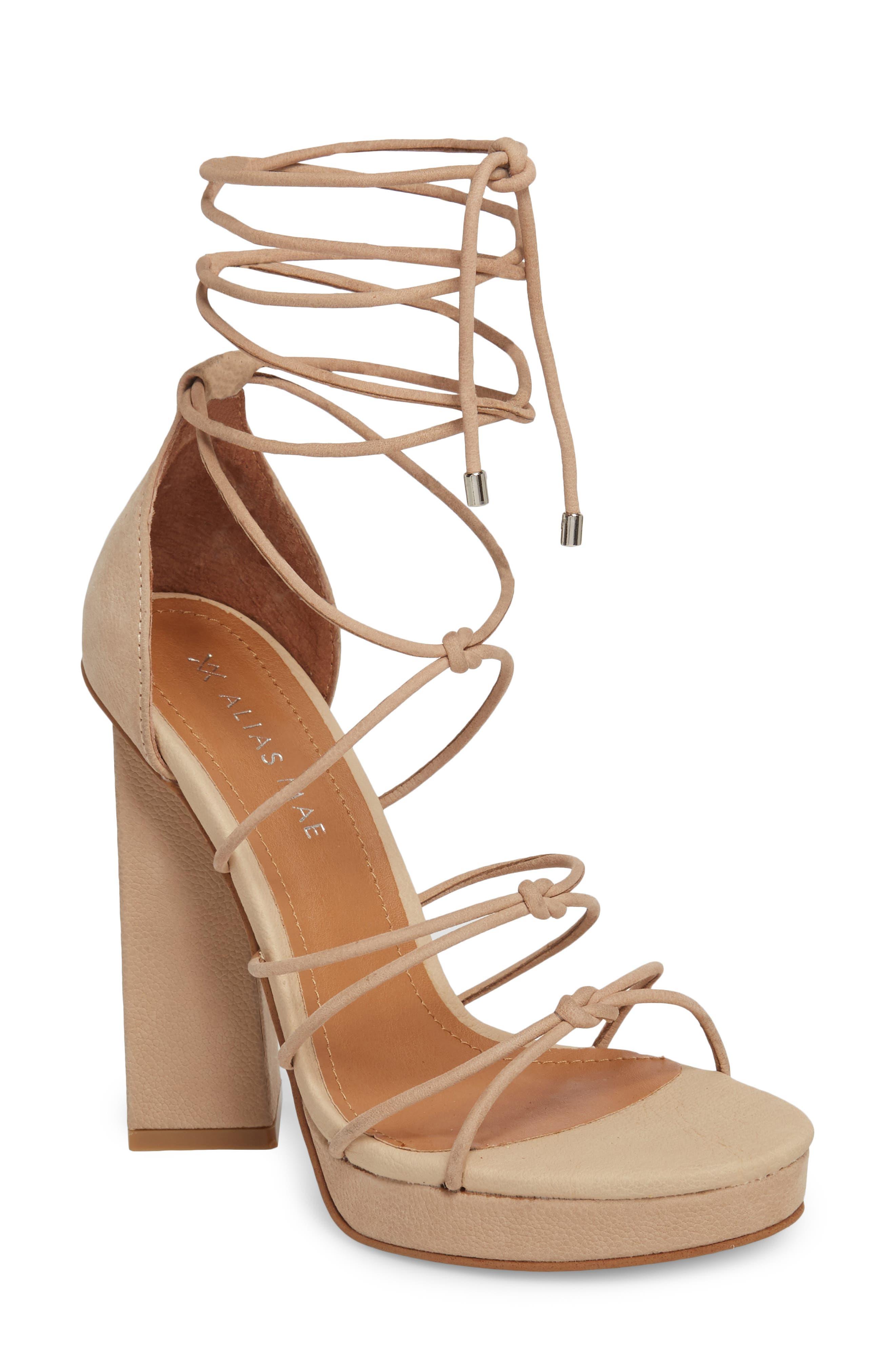 Alias Mae Bordega Ankle Wrap Sandal, Beige