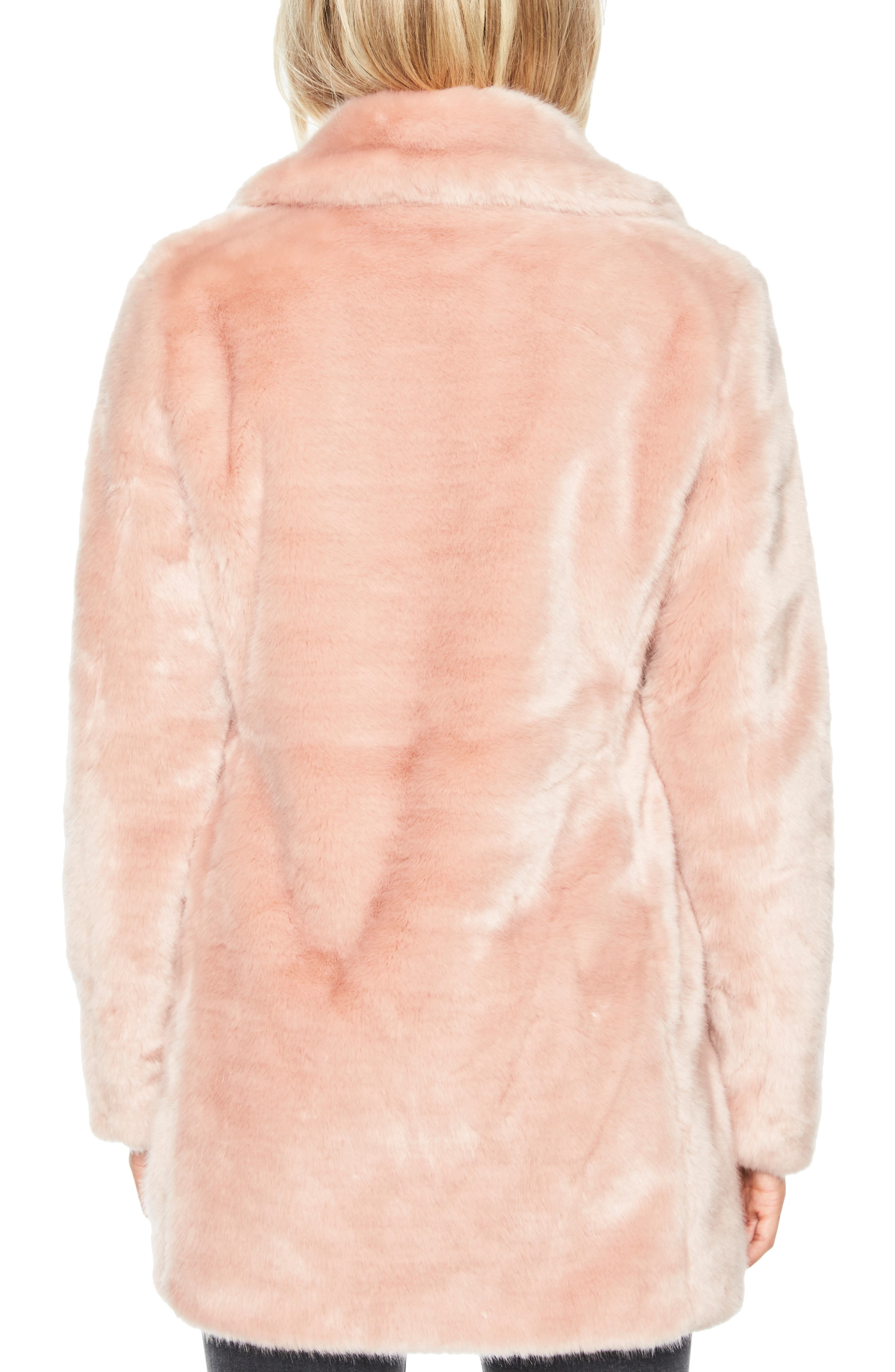 Faux Fur Coat,                             Alternate thumbnail 2, color,                             BLUSH PINK