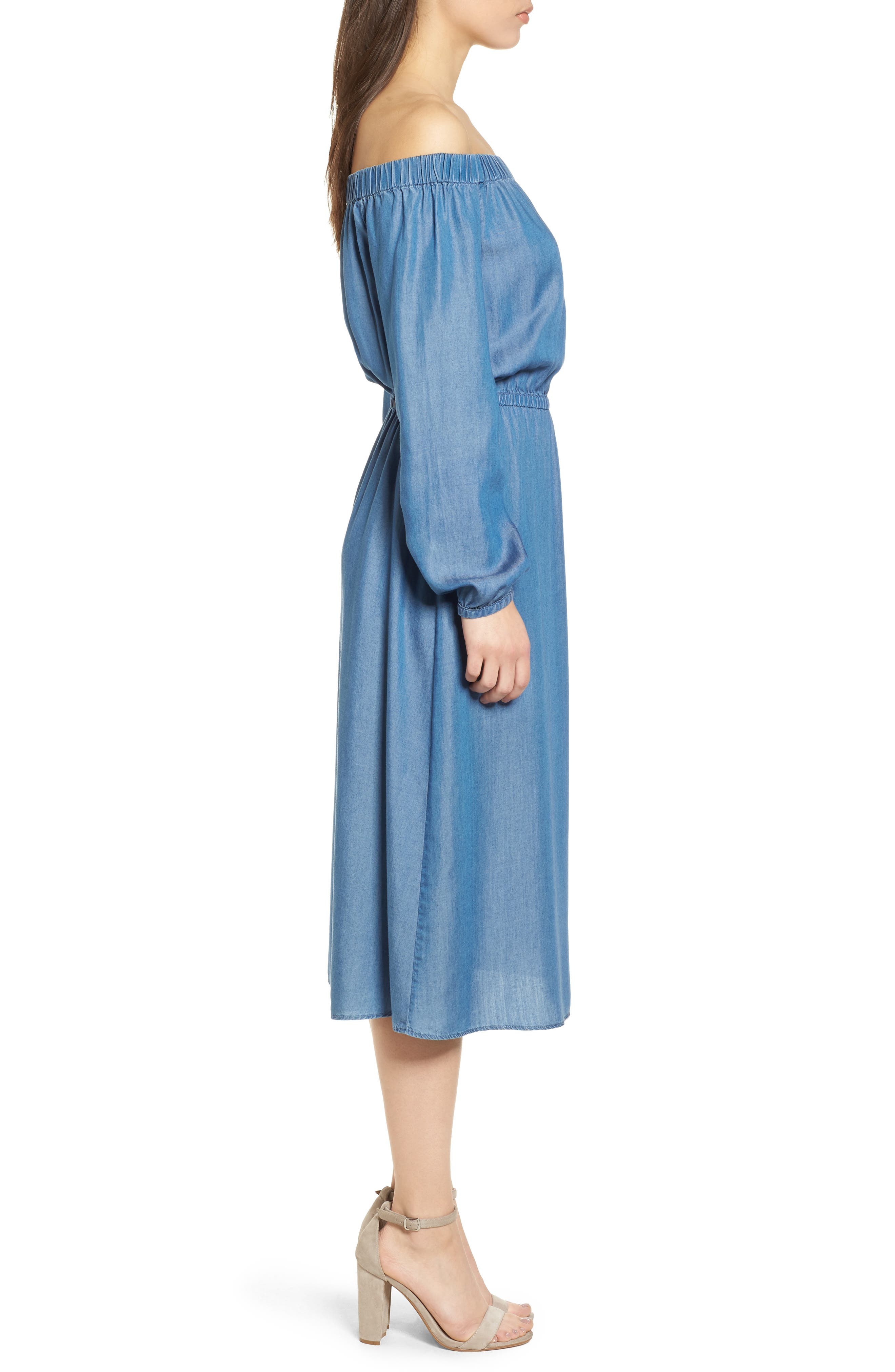 Off the Shoulder Midi Dress,                             Alternate thumbnail 3, color,                             401