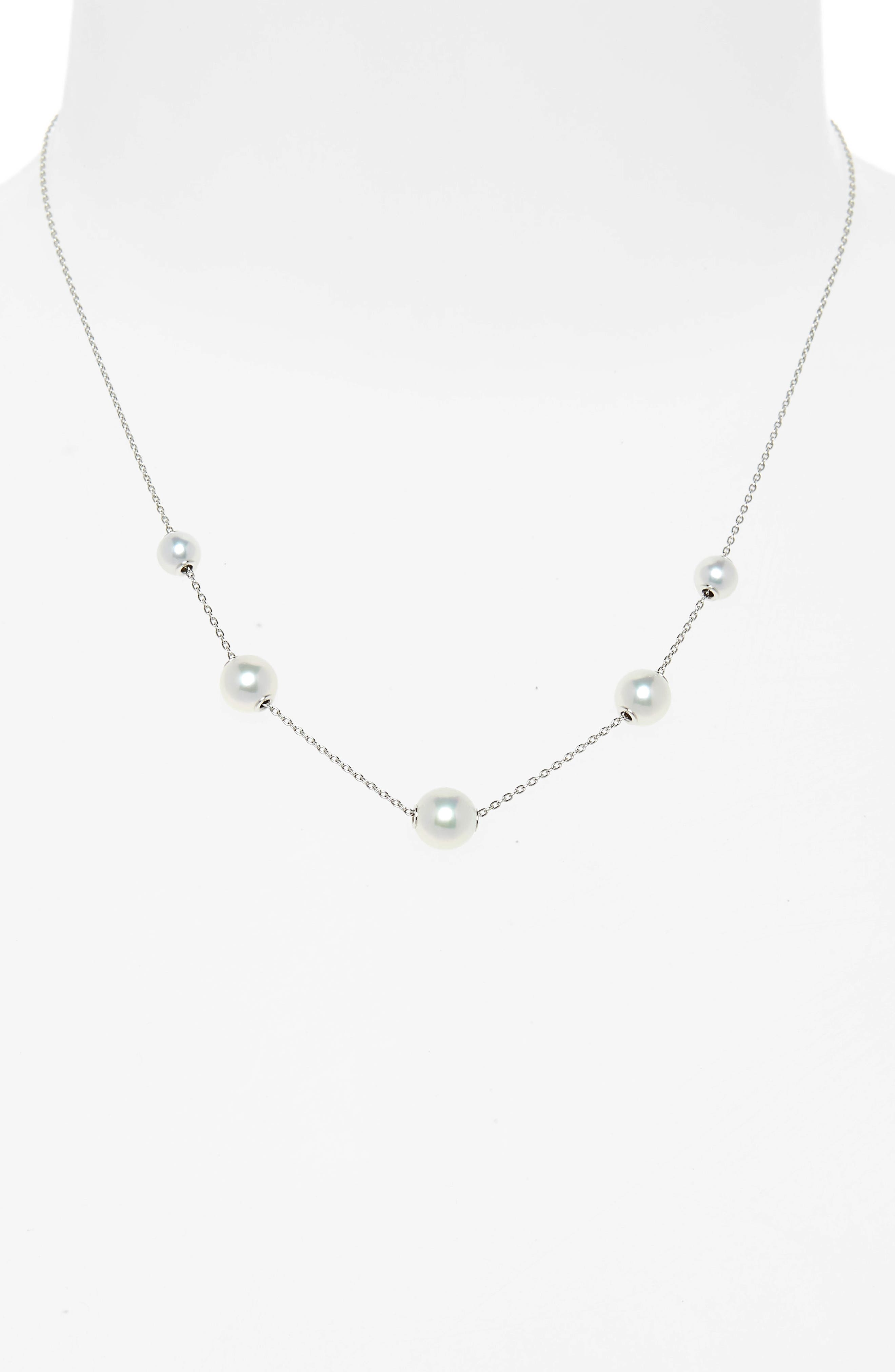 Graduated Pearl Station Necklace,                             Alternate thumbnail 2, color,                             WHITE GOLD