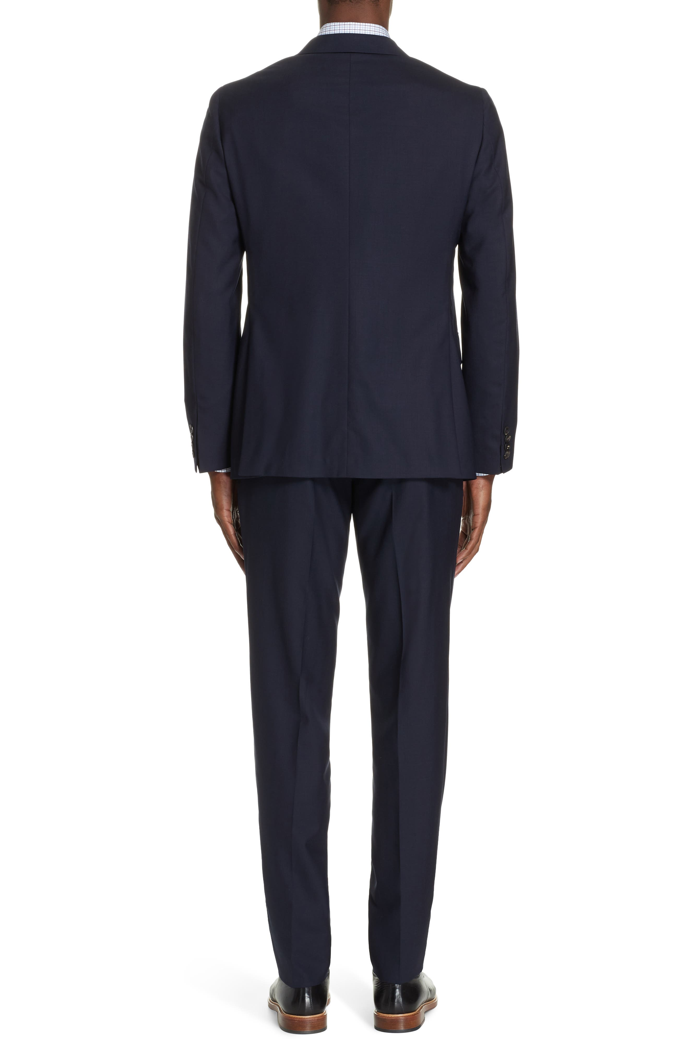 Milano Trim Fit Solid Wool Suit,                             Alternate thumbnail 2, color,                             NAVY