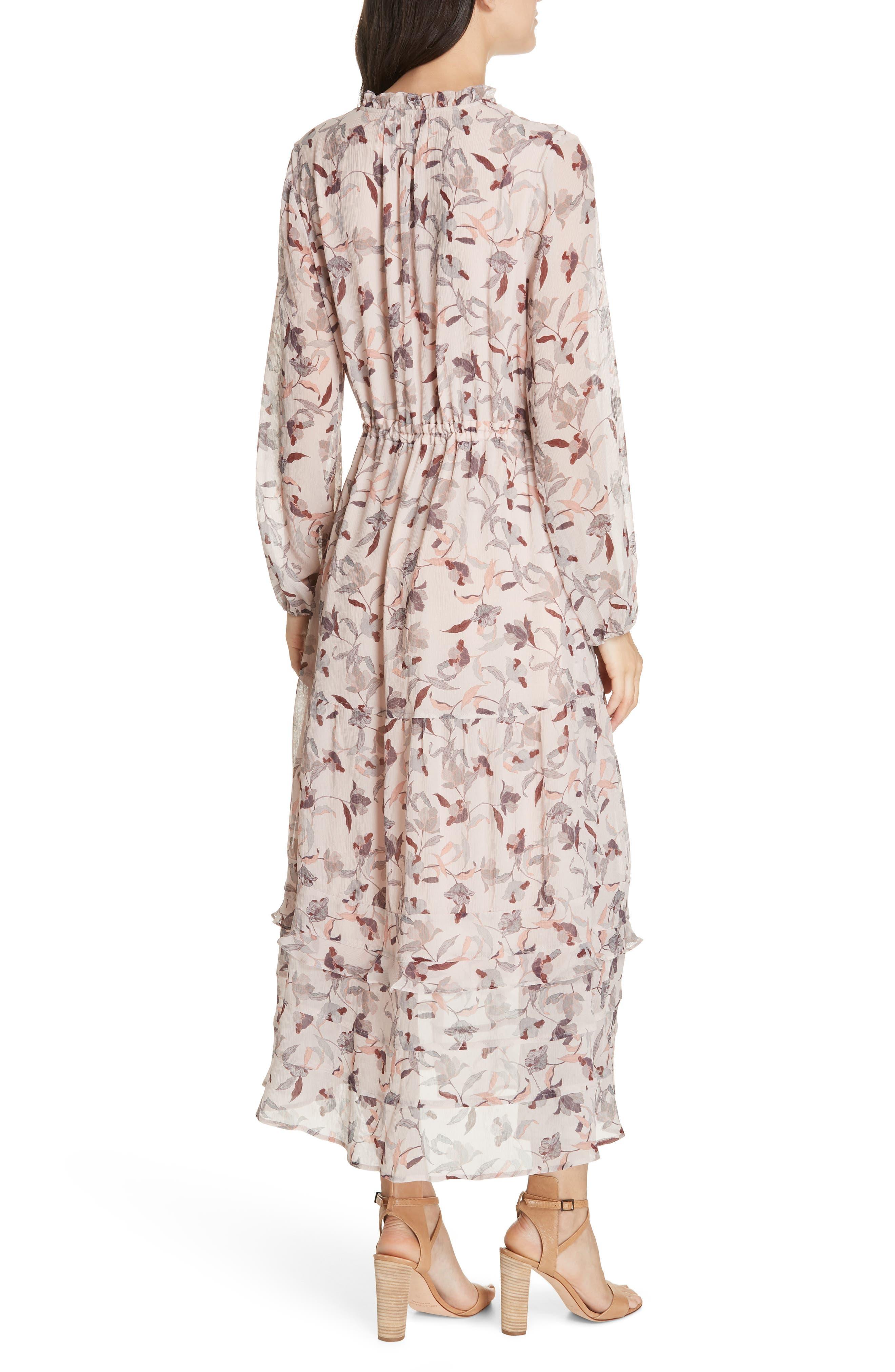 Frances Floral Silk Maxi Dress,                             Alternate thumbnail 2, color,                             FEATHER POPPY