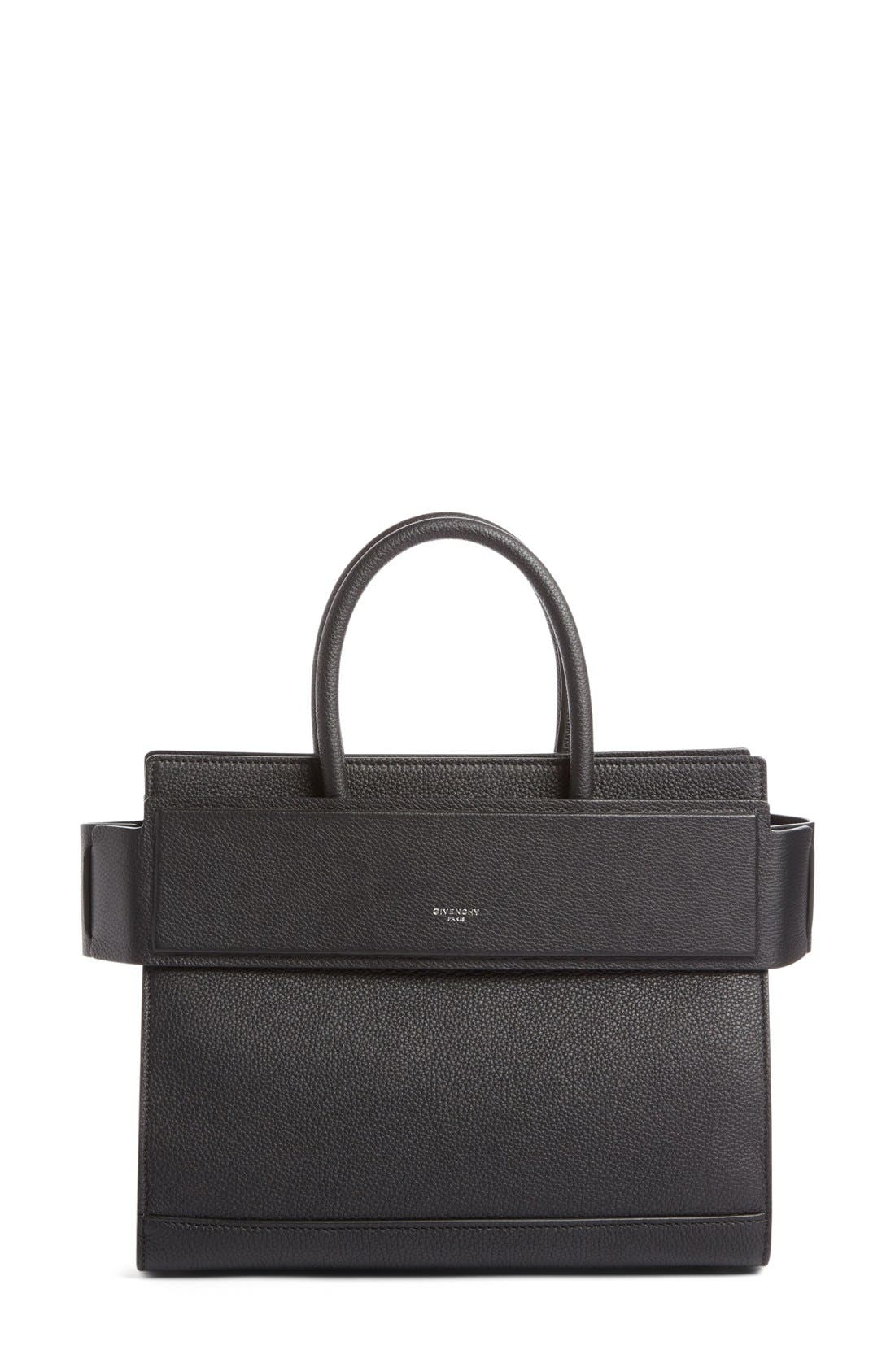 Small Horizon Grained Calfskin Leather Tote,                         Main,                         color, BLACK