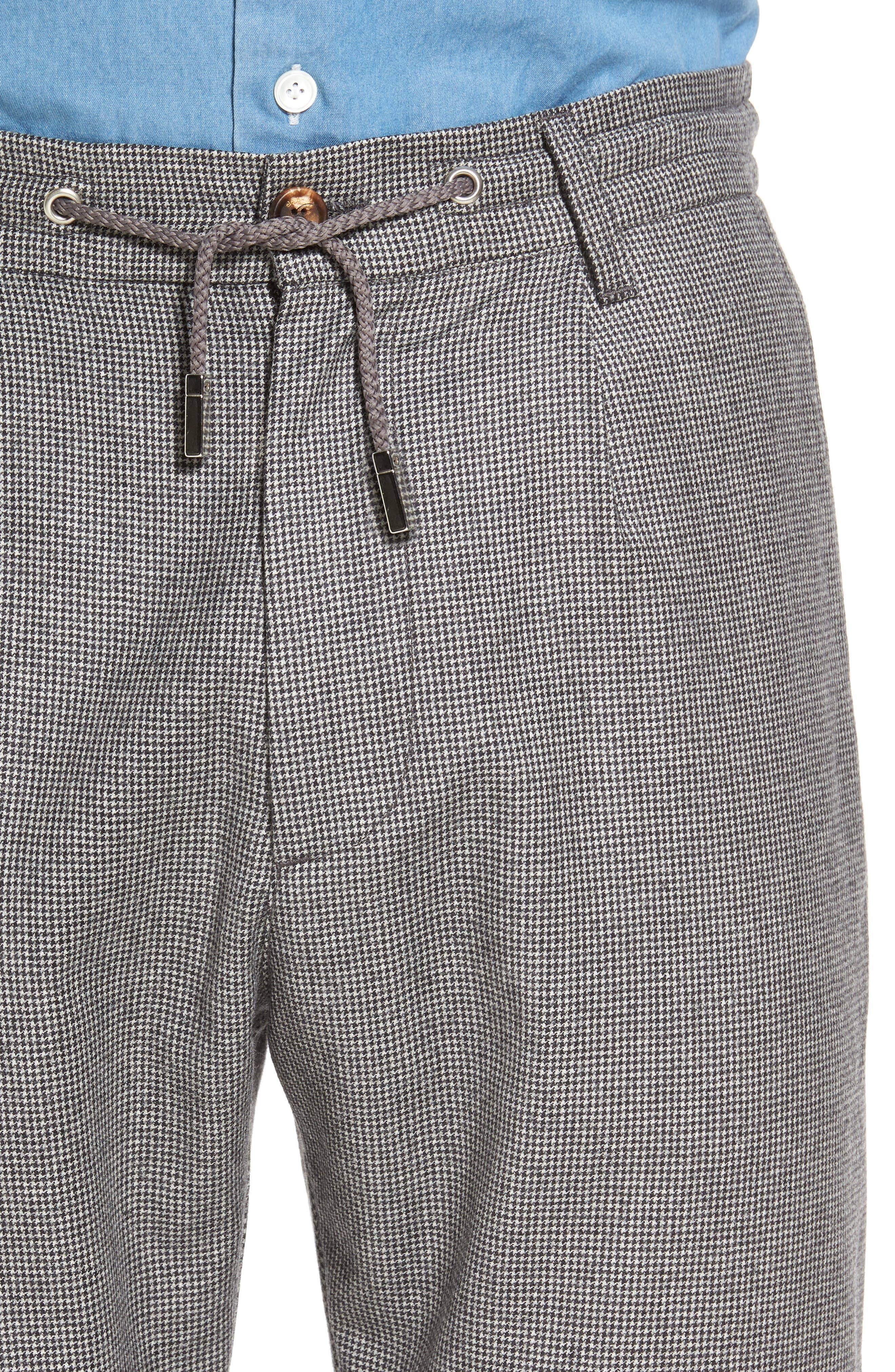 Houndstooth Wool Drawstring Jogger Pants,                             Alternate thumbnail 4, color,                             020