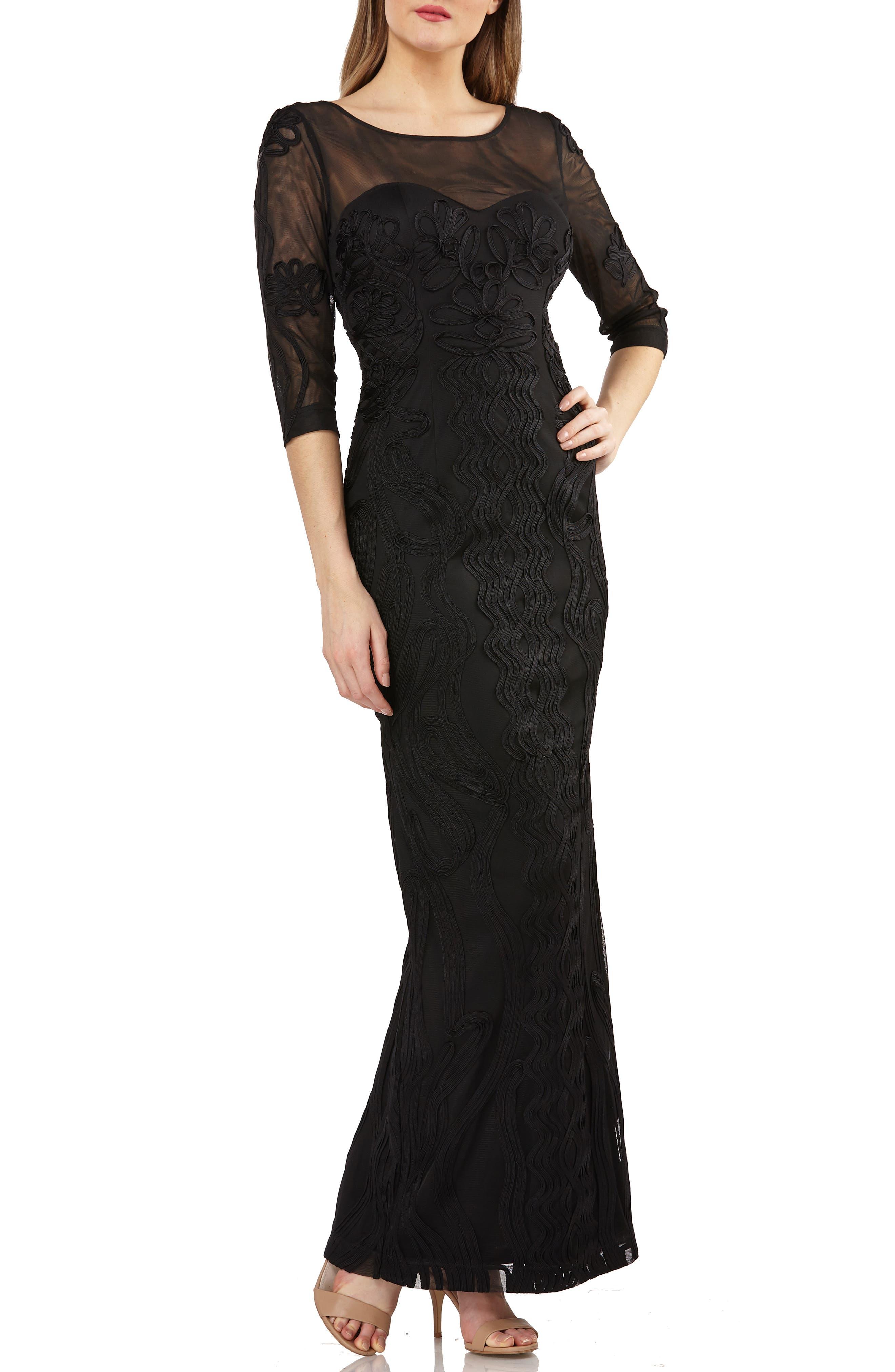 Illusion Yoke Soutache Column Gown,                         Main,                         color, BLACK