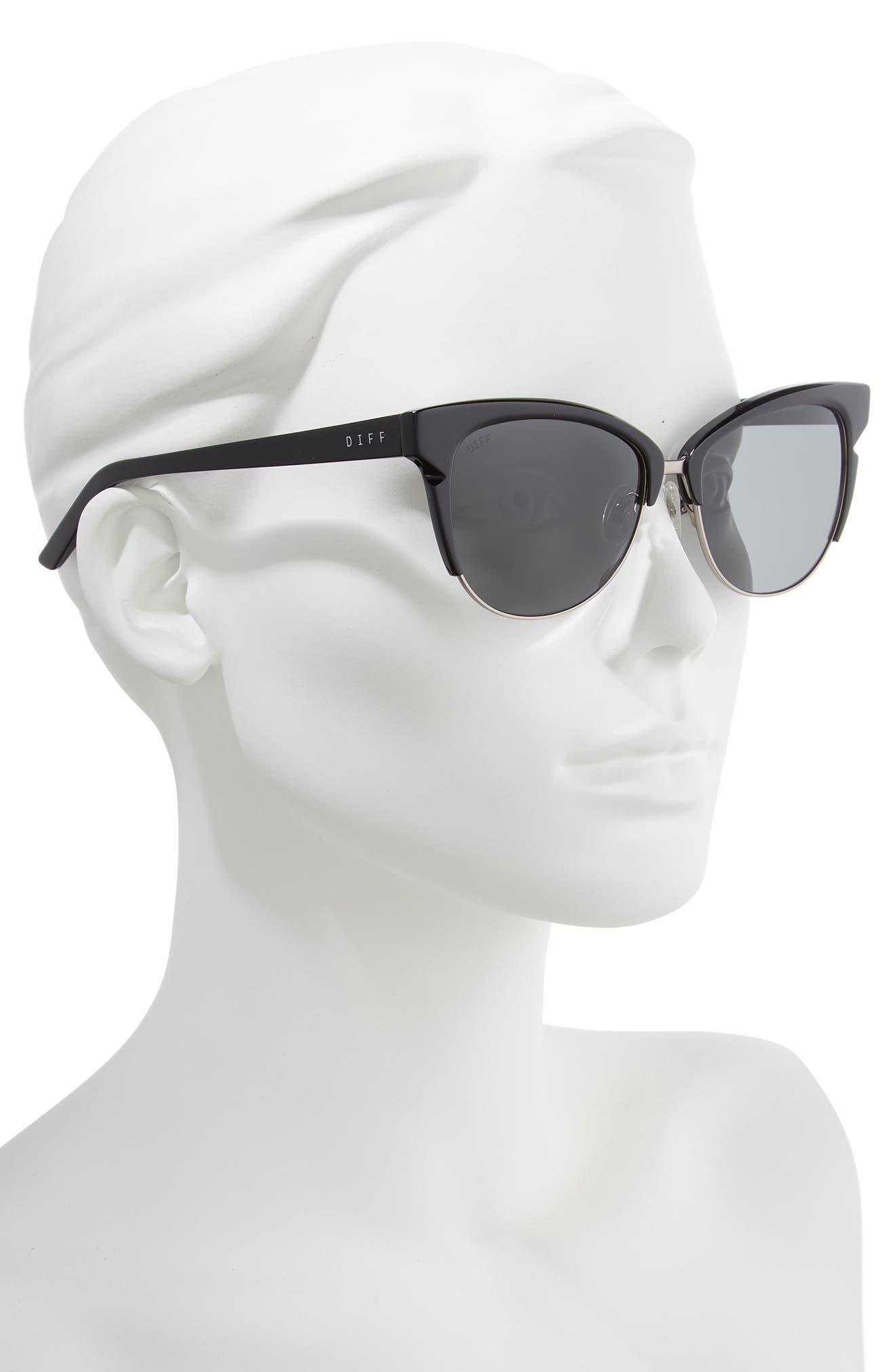 Ivy 56mm Polarized Cat Eye Sunglasses,                             Main thumbnail 1, color,                             BLACK/ DARK SMOKE