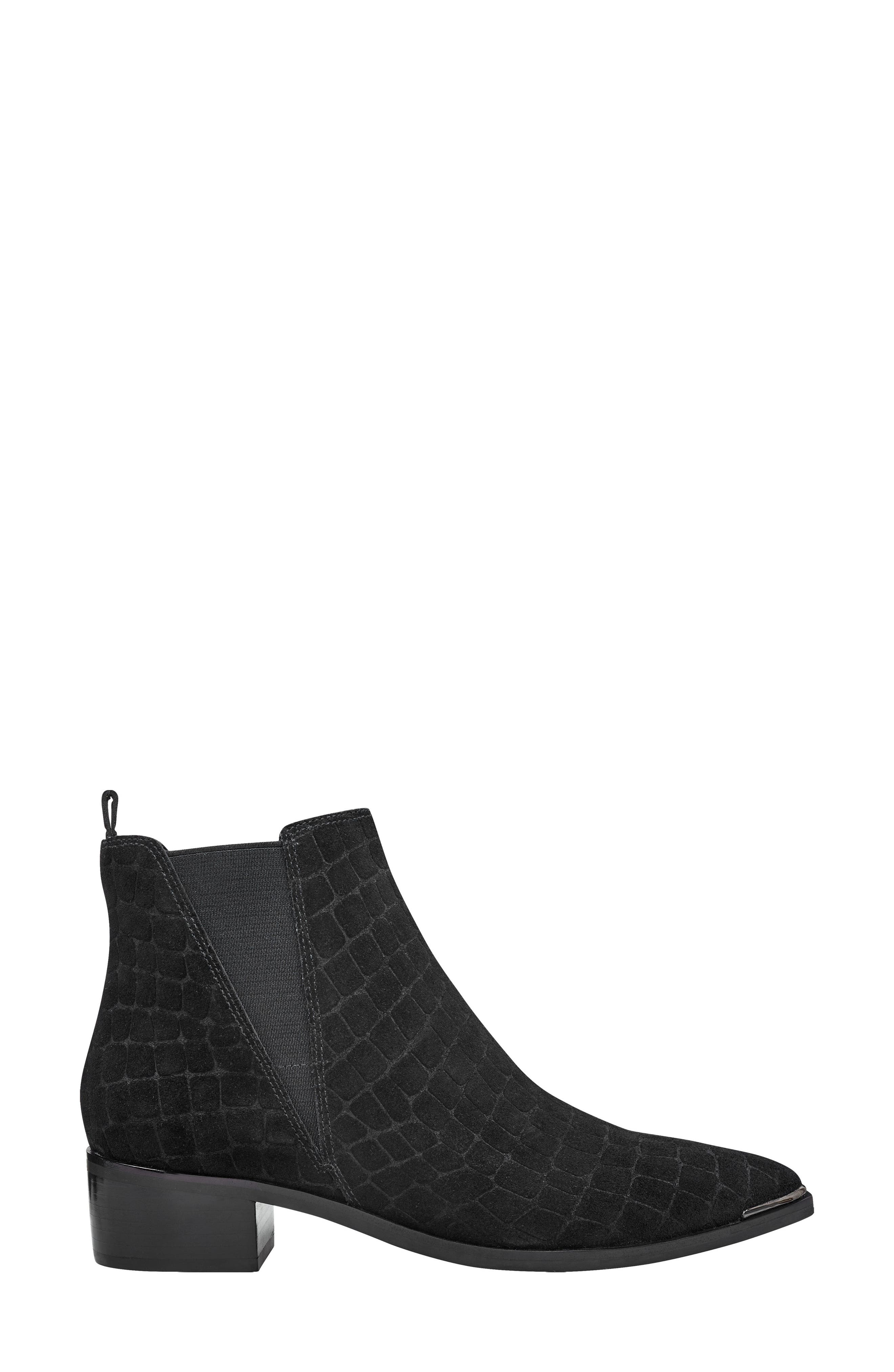 'Yale' Chelsea Boot,                             Alternate thumbnail 3, color,                             BLACK CROC EMBOSSED SUEDE