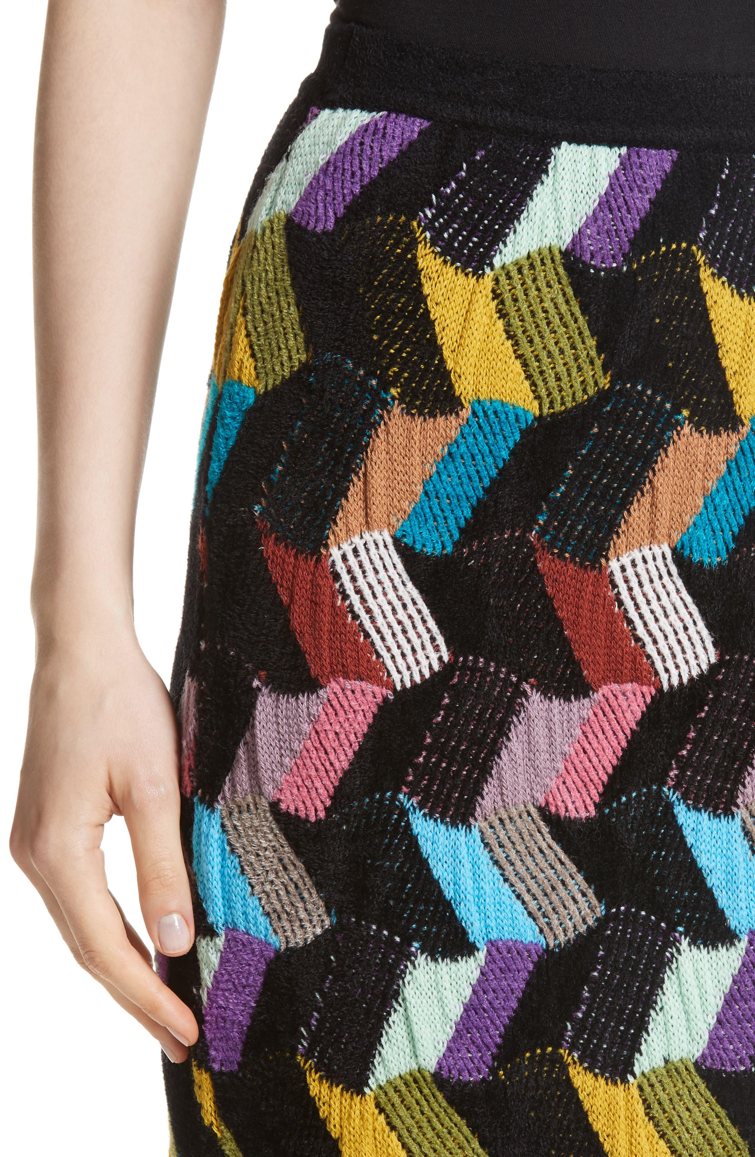 Multi Knit Pencil Skirt,                             Alternate thumbnail 4, color,                             001
