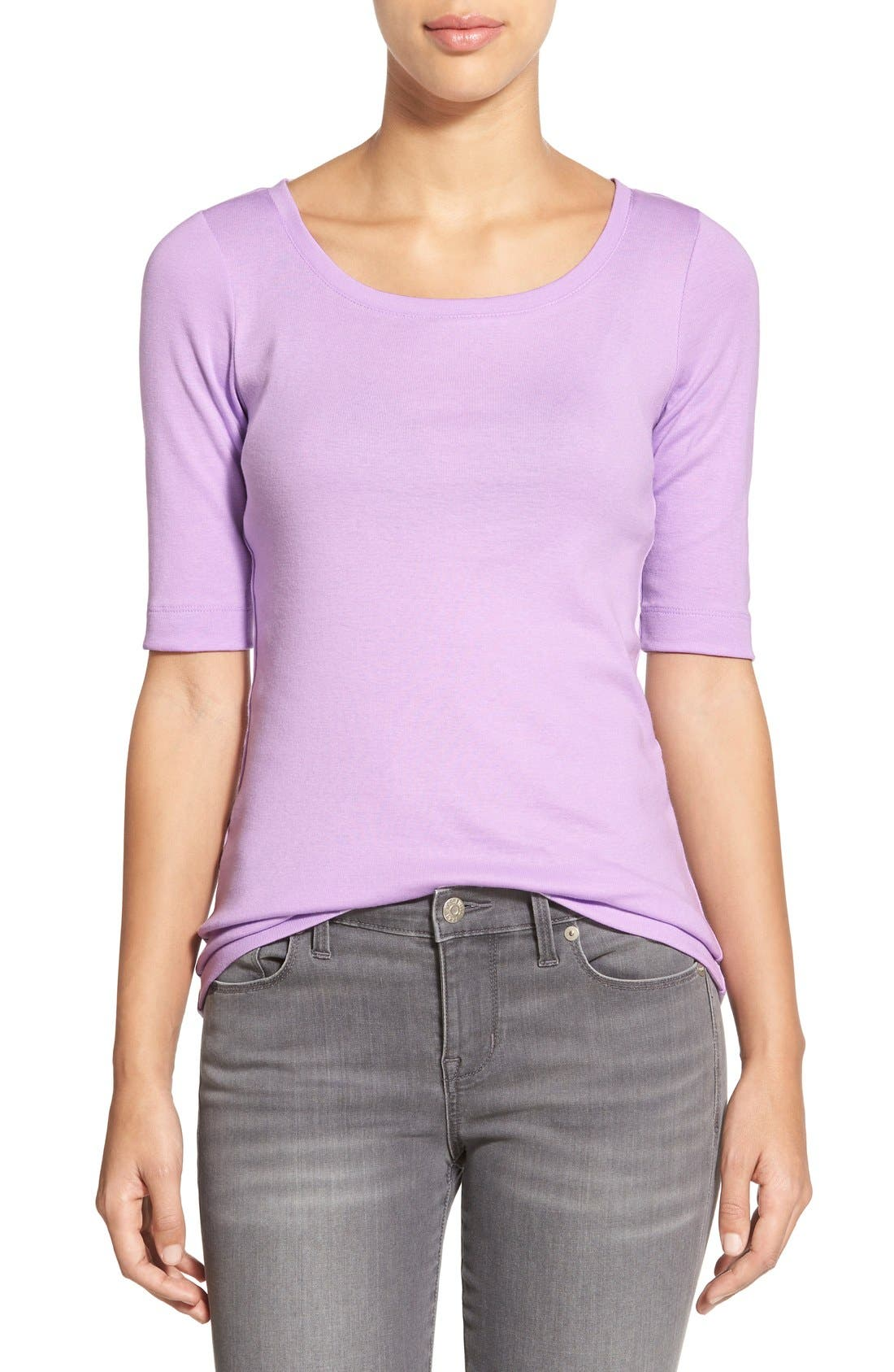 Ballet Neck Cotton & Modal Knit Elbow Sleeve Tee,                             Main thumbnail 34, color,