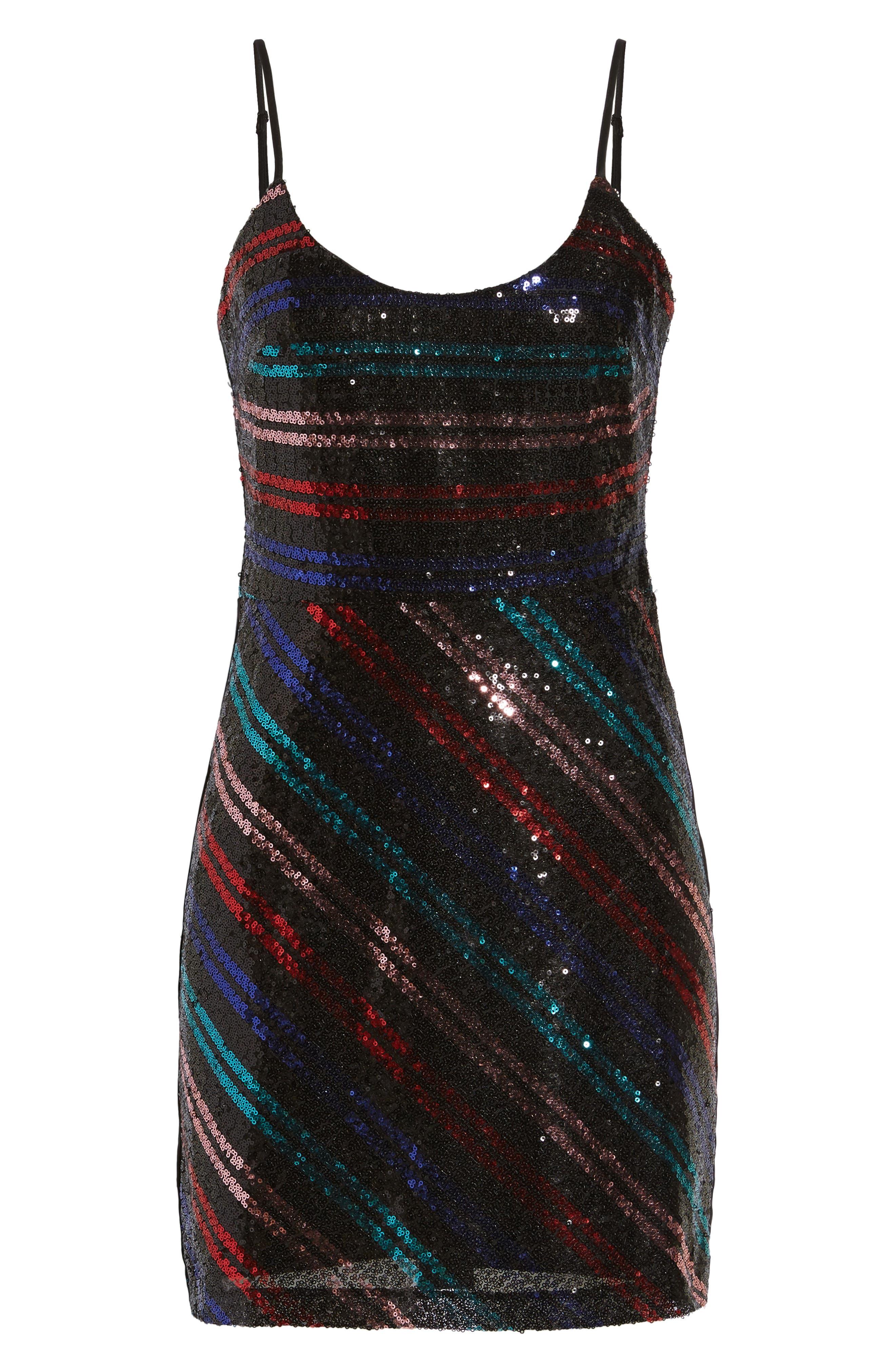 Randi Sequin Front Slip Dress,                             Alternate thumbnail 6, color,                             001