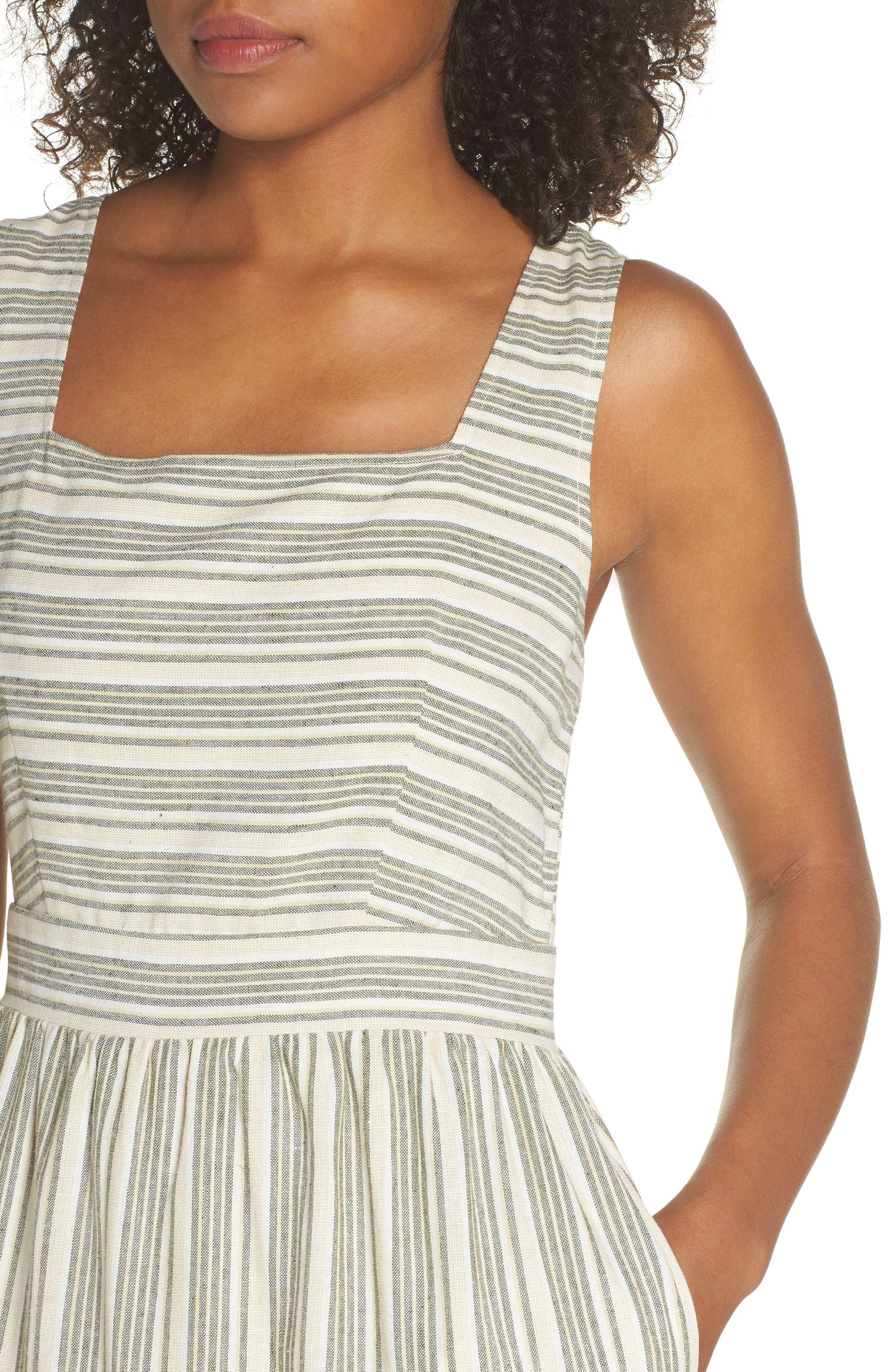 Sleeveless Stripe Midi Dress,                             Alternate thumbnail 4, color,                             300