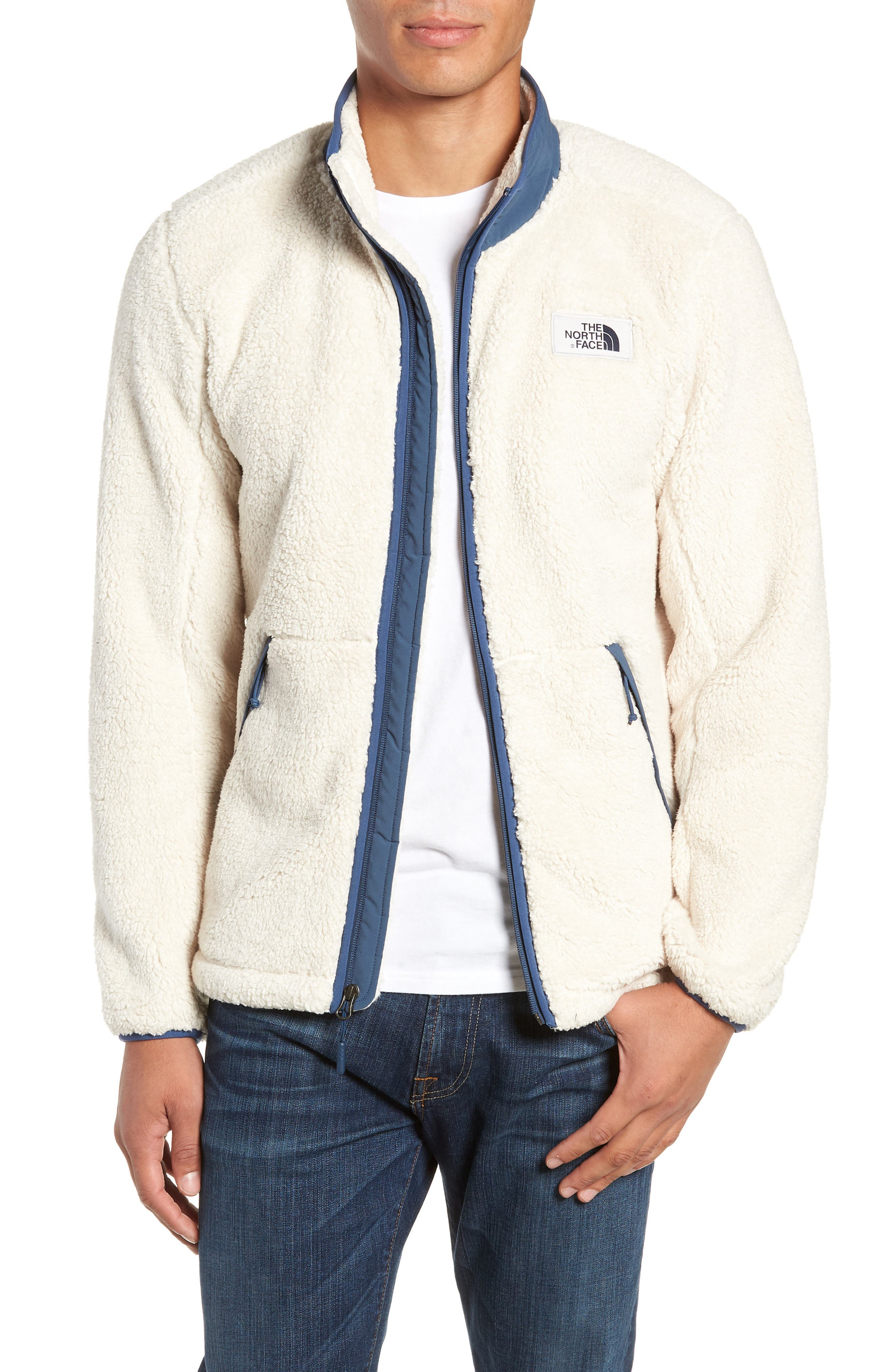 Campshire Zip Fleece Jacket,                         Main,                         color, VINTAGE WHITE/ SHADY BLUE