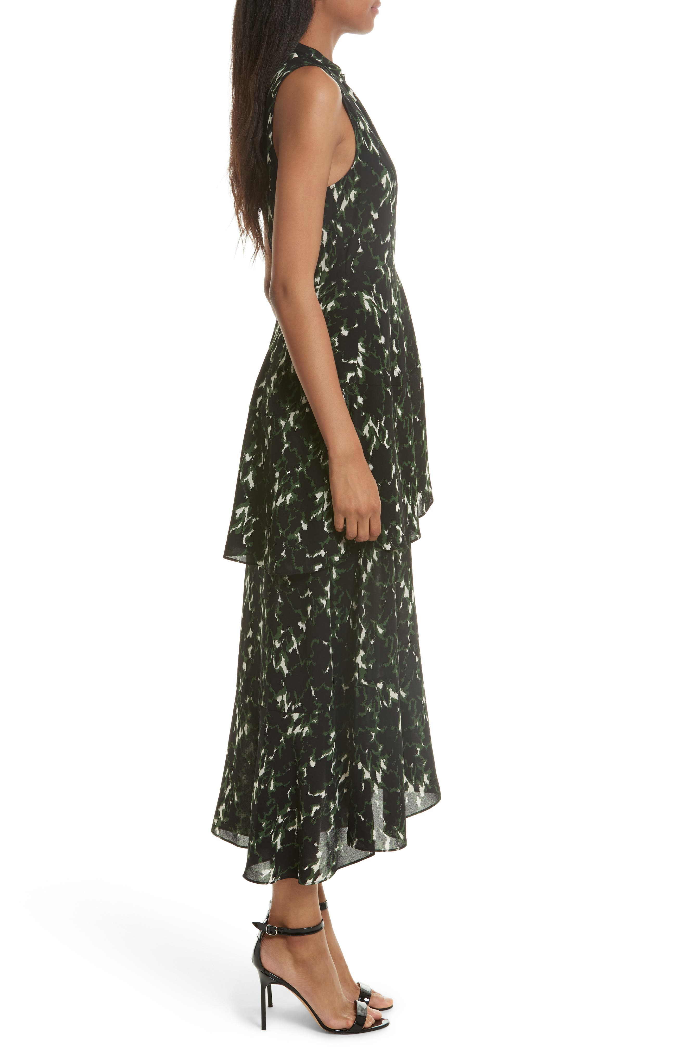 Wylon Print Silk Dress,                             Alternate thumbnail 3, color,                             301