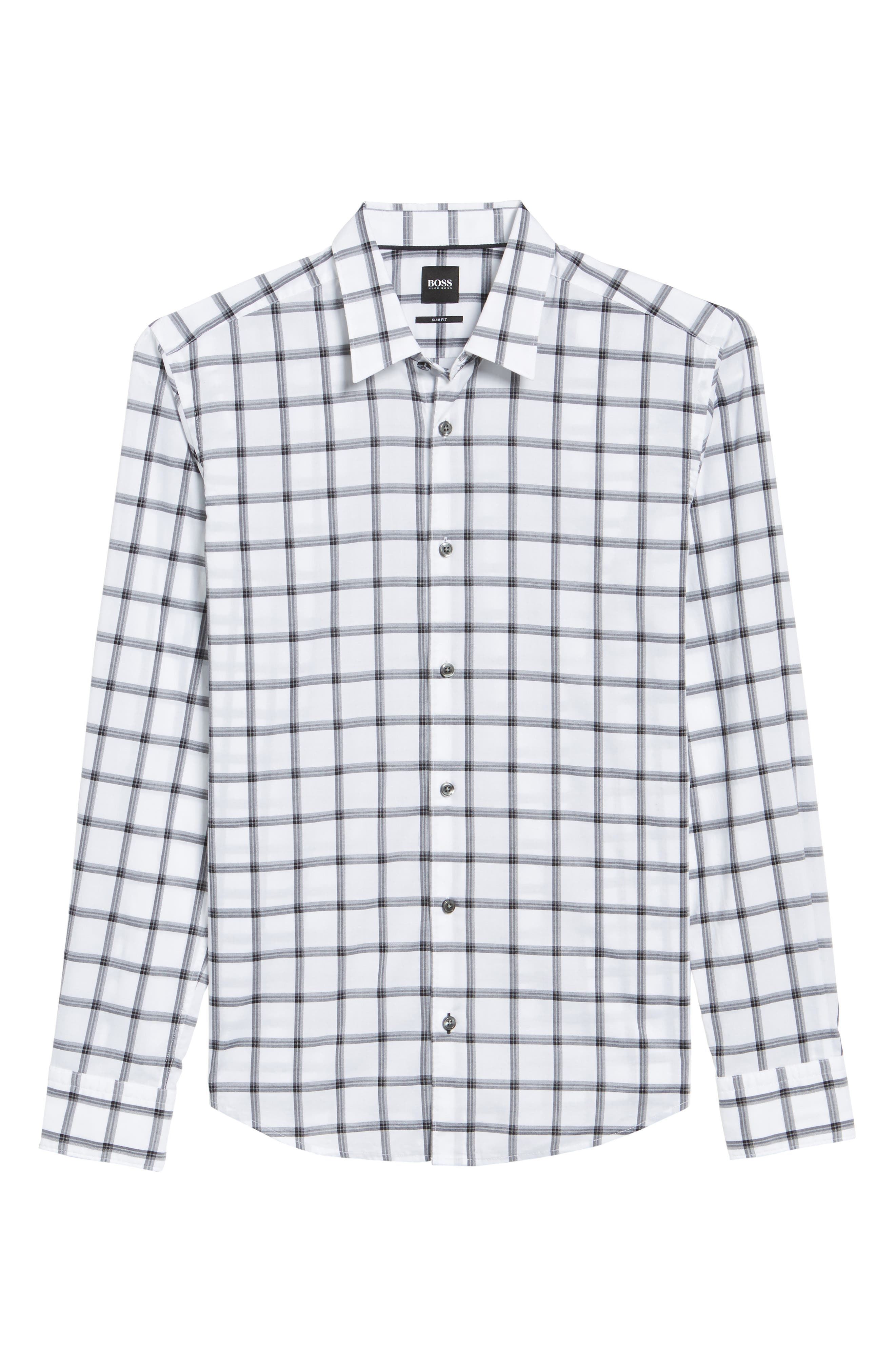 Reid Slim Fit Windowpane Sport Shirt,                             Alternate thumbnail 6, color,                             001