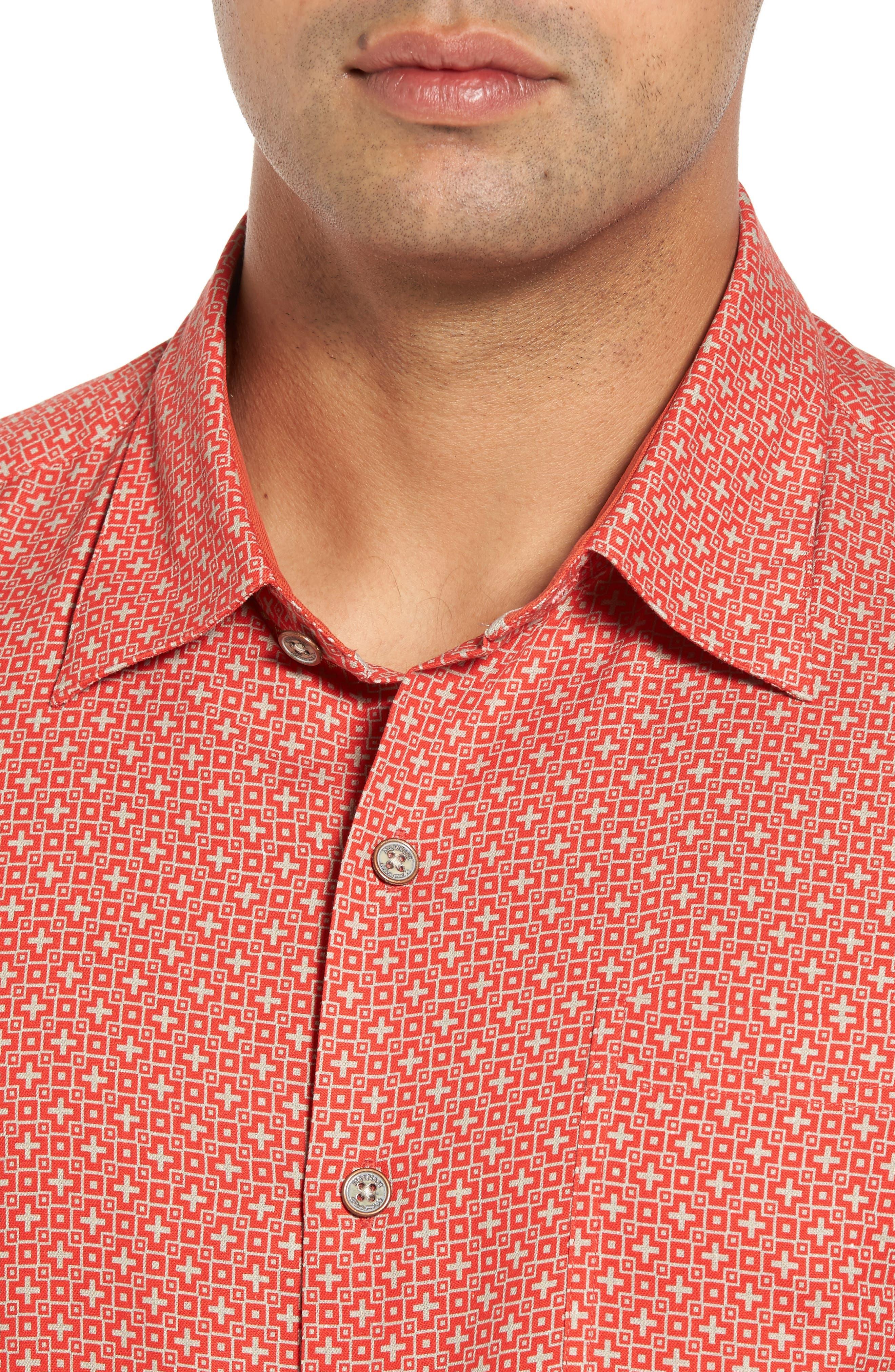 Everest Print Silk Blend Sport Shirt,                             Alternate thumbnail 12, color,