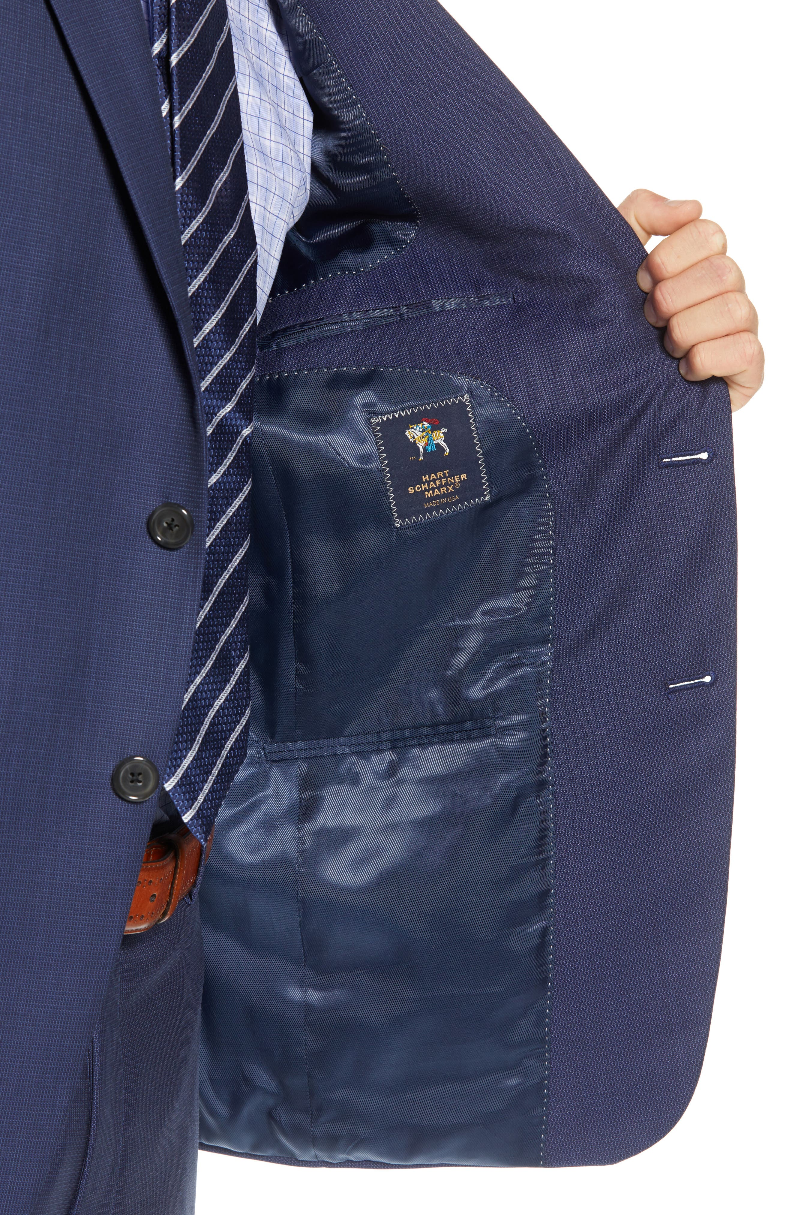 New York Classic Fit Check Wool Suit,                             Alternate thumbnail 4, color,                             MED BLUE