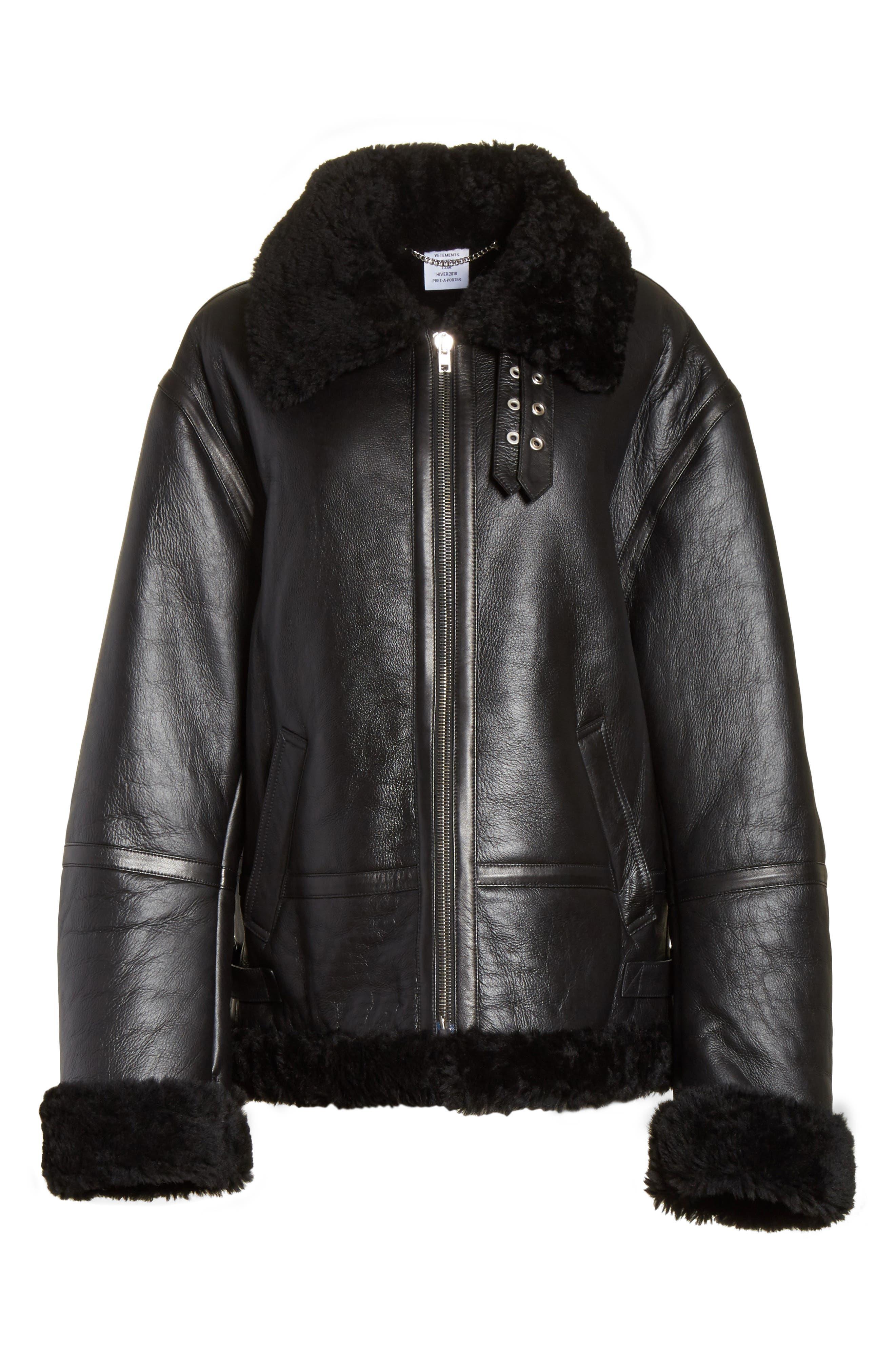 Genuine Shearling Jacket,                             Alternate thumbnail 5, color,                             001