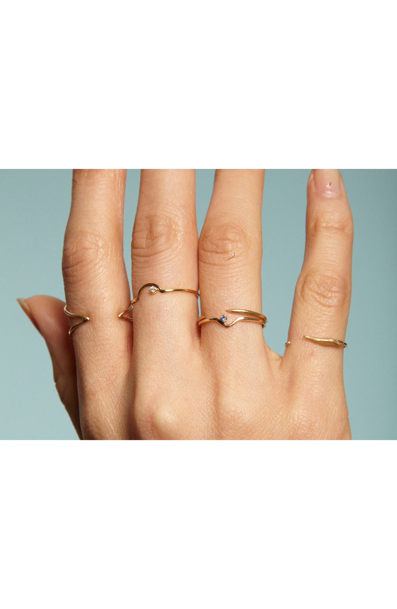Triangle Lineage Black Diamond Ring,                             Alternate thumbnail 2, color,                             YELLOW GOLD