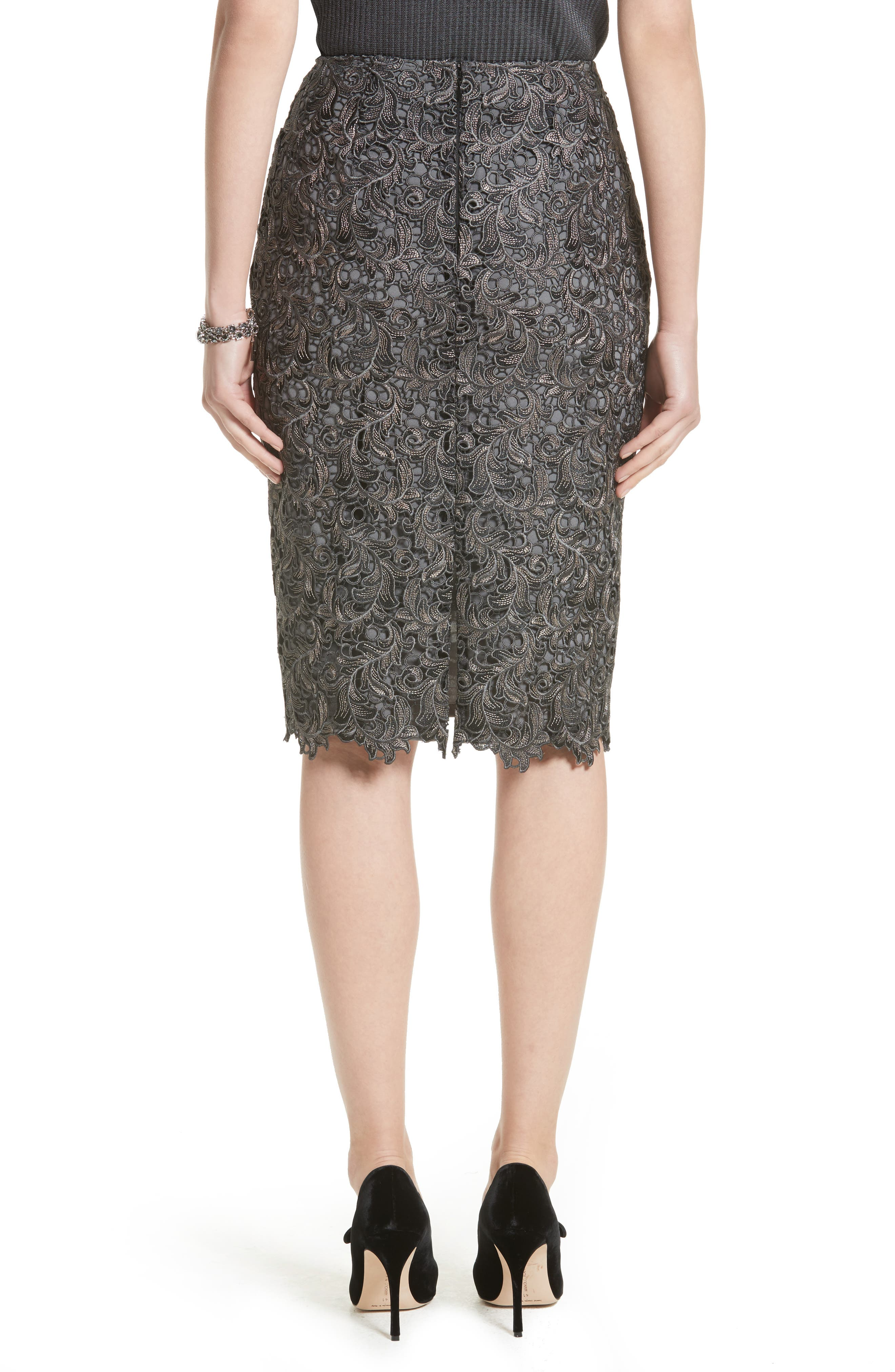 Plume Embroidered Lace Pencil Skirt,                             Alternate thumbnail 2, color,                             030